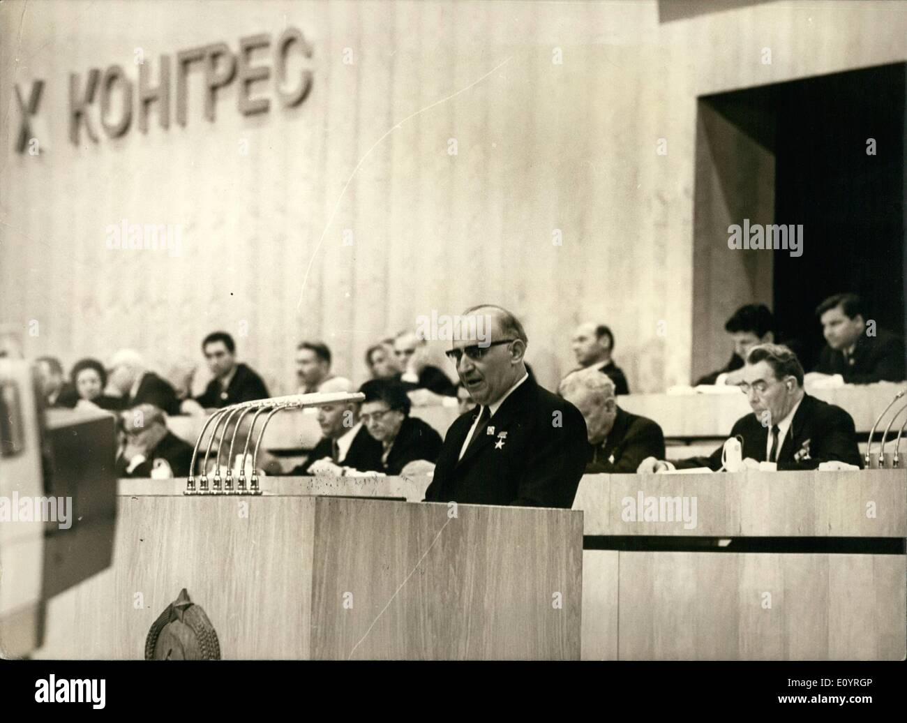 Apr. 04, 1971 - 10th Congress of the Bulgarian Communist Party. Todor Zhivkov, First Secretary of the CC of BCP and Bulgarian Prime Minister, speaking. At right is Leonid Brezhnev, Secretary General of the CC of the CPSU. Sofia April 1971 - Stock Image