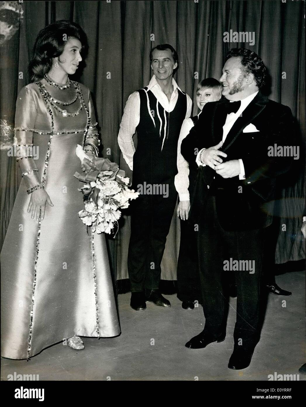 Apr. 20, 1971 - April 20th 1971. Princess Anne attends a Gala charity show called ''Fall in the Stars'' at the London Stock Photo