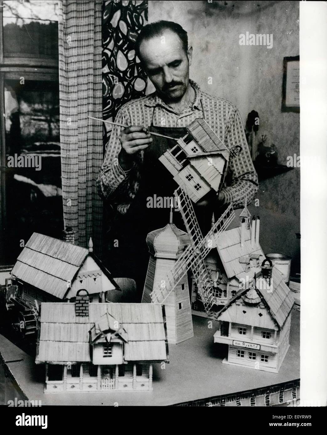 Apr. 24, 1971 - April 24th 1971 He makes models of typical Czech Folk architecture. Ancient times are revived in the hands of Vaclav Prochazka, from Dobriv near Rokycany, West Bohemia, who hobby is making models of ancient houses. He works as a fireman in an iron works and gives up all his spare time making exact models of inns, cottages windmills and other folk buildings from the 18th century. He makes them with thousands of skewers, paper and veneering wood - Stock Image