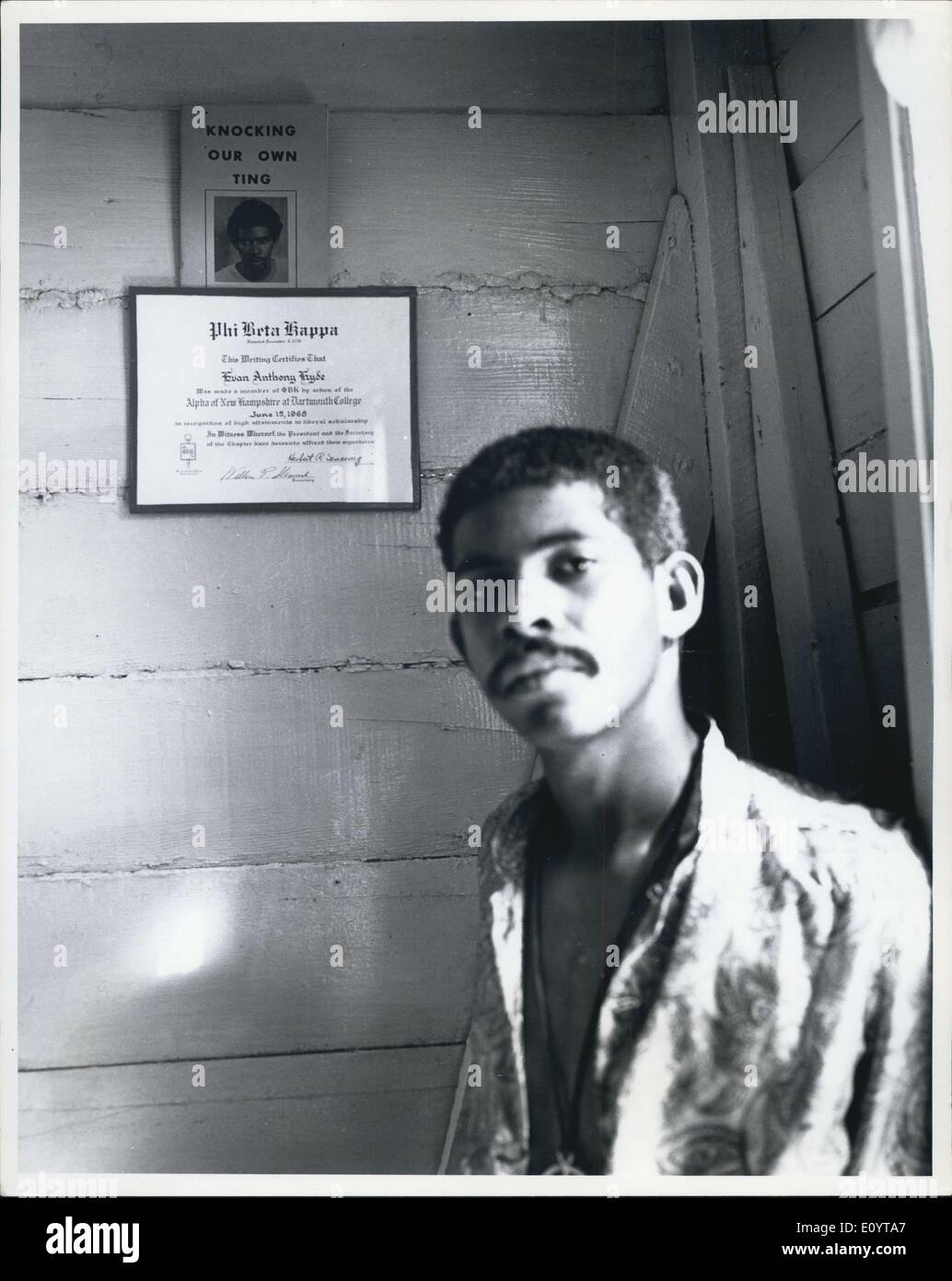 May 10, 1971 - Evan X Hyde: Head of U.B.A.D the black power party of British Honduras. He is a Phi eta Kappa graduate of Darmouth College - Stock Image