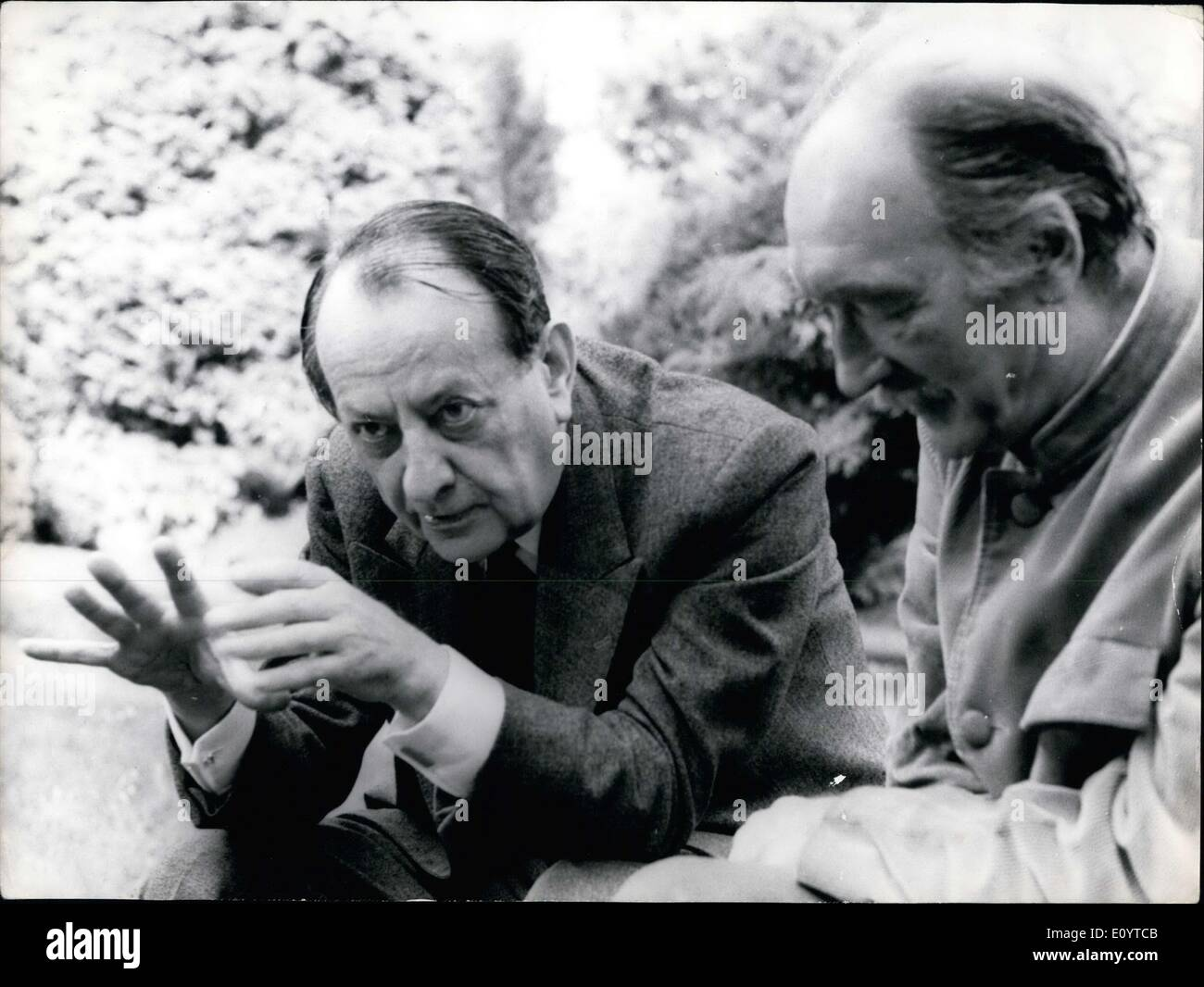 May 15, 1971 - Andre Malraux and Jean Vilar Filming - Stock Image