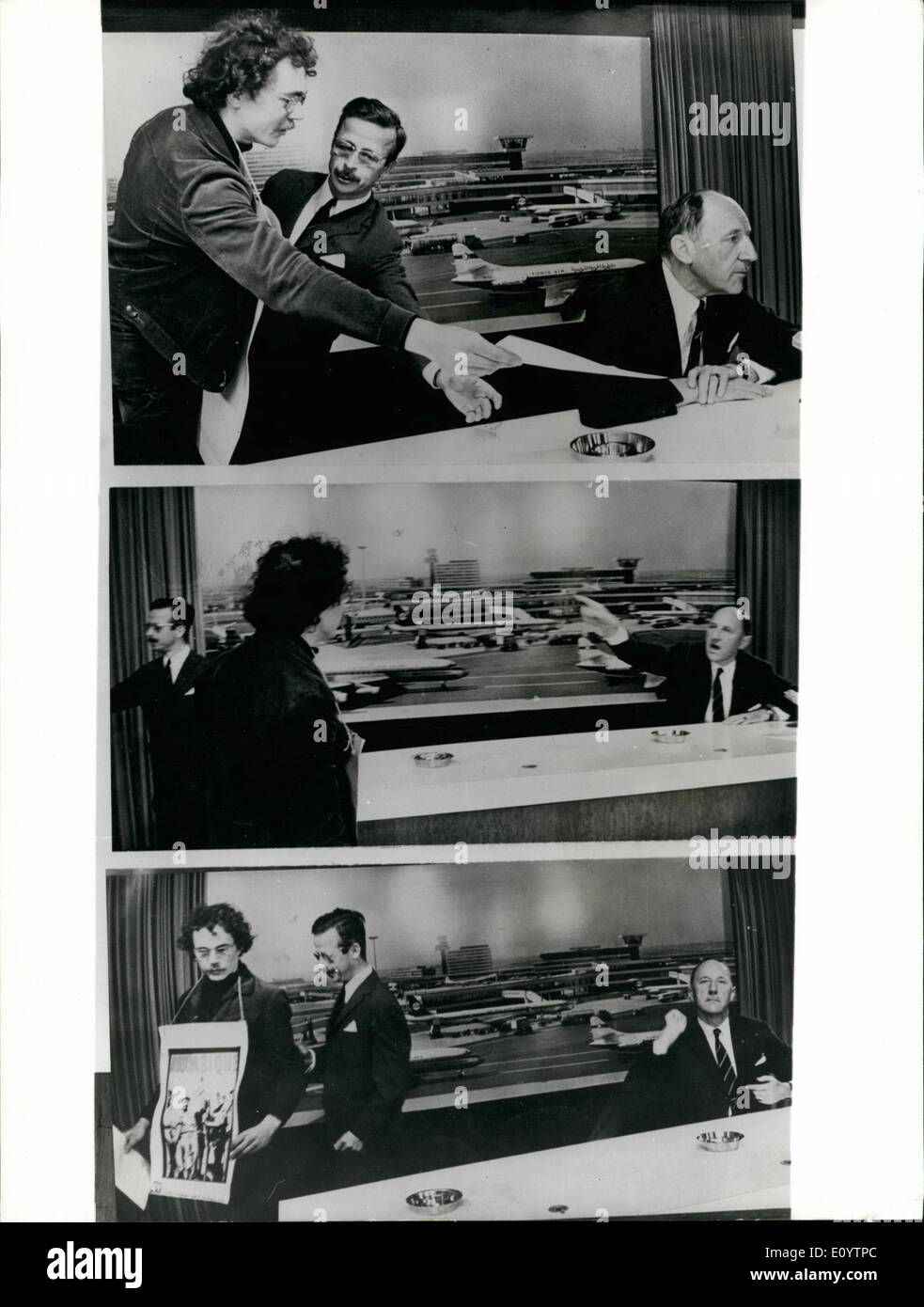 Jun. 06, 1971 - Demonstrator Angers Mr. Luns. During a press conference he gave on arrival at Schipol Airport, Amsterdam from New York yesterday, Mr. Luns, the Dutch Foreign Minister, who will be secretary general of the NATO Oct 1st, 1971 - was angered when a member of the Angola Committee, who protest against the attitude of Mr. Luns in respect of the Portugal Government's colonial politics, entered the press room and handed a manifesto to Mr. Luns. Photo Shows: (Top picture) The Demonstrators hands the manifesto to Mr. Luns, who later crushed it. (Middle picture) With outstretched hand Mr - Stock Image