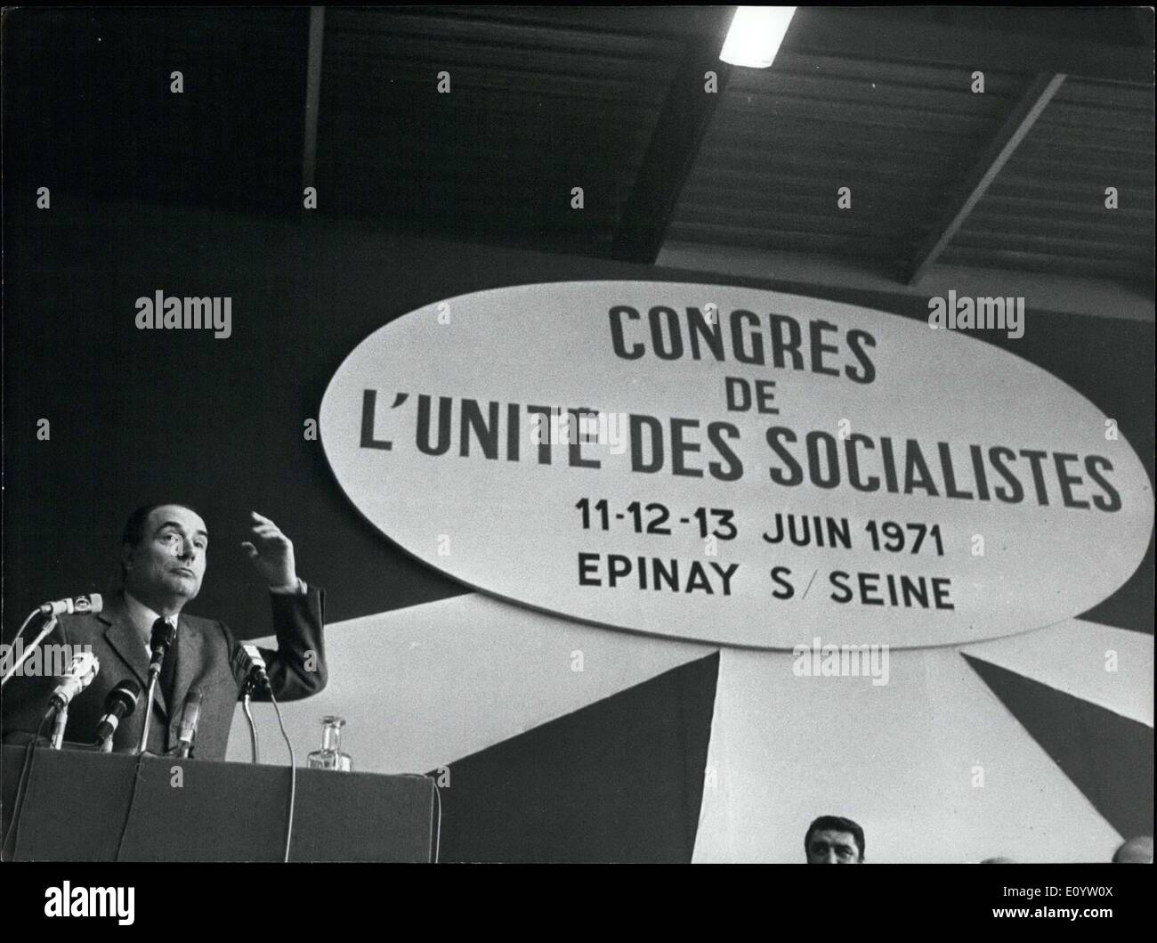 Jun. 13, 1971 - He is at a Unity of Socialists Congress. - Stock Image