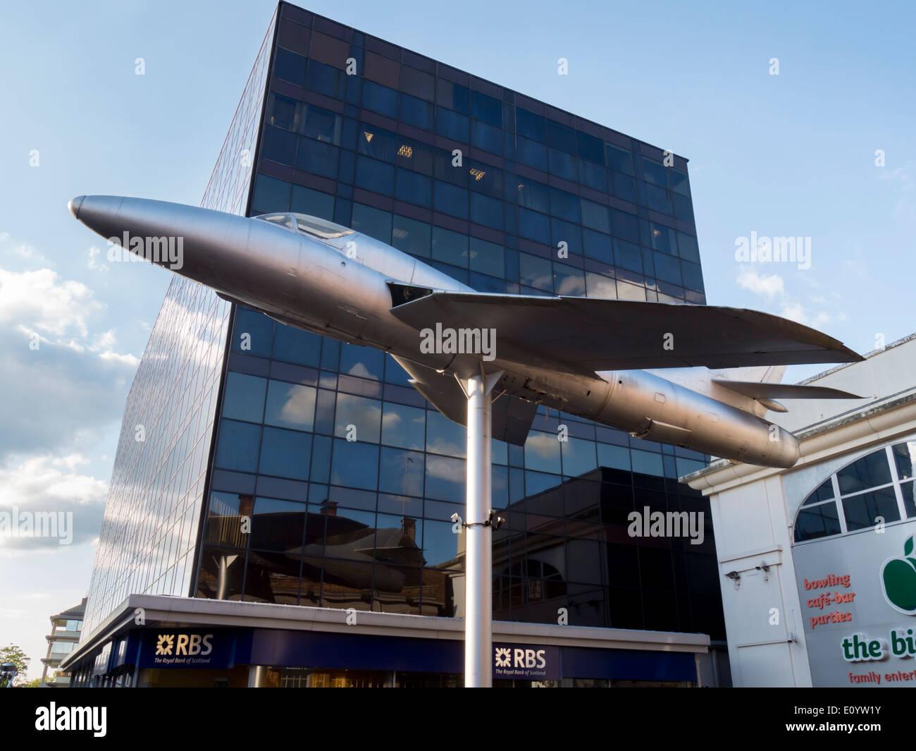 Europe, UK, England, Surrey, Woking town Hawker Hunter - Stock Image