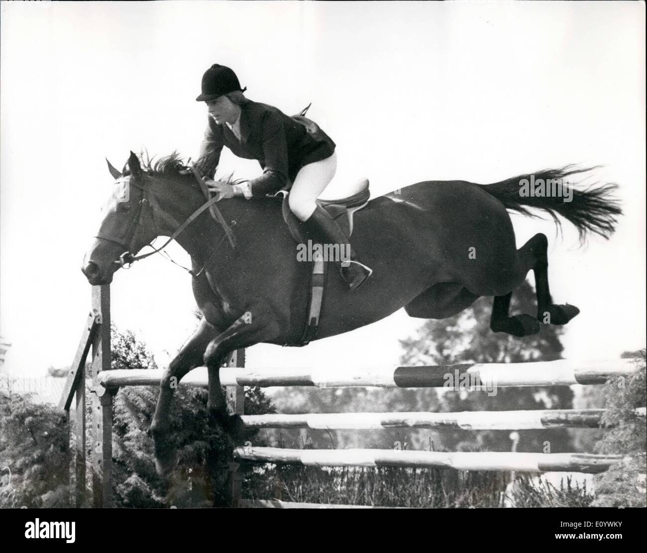 Aug. 08, 1971 - Greater London Horse Show At Clapham Common: The Greater London Horse Show, promoted by the Greater London Council, which is being held today and on Monday at Clapham Common, has attracted many of the country's top riders. Photo shows Mrs. Marion Mould, riding Opportunity II - taking one of the jumps when winning the ''Daily Express'' Foxhunter Regional Final, at the show today. - Stock Image