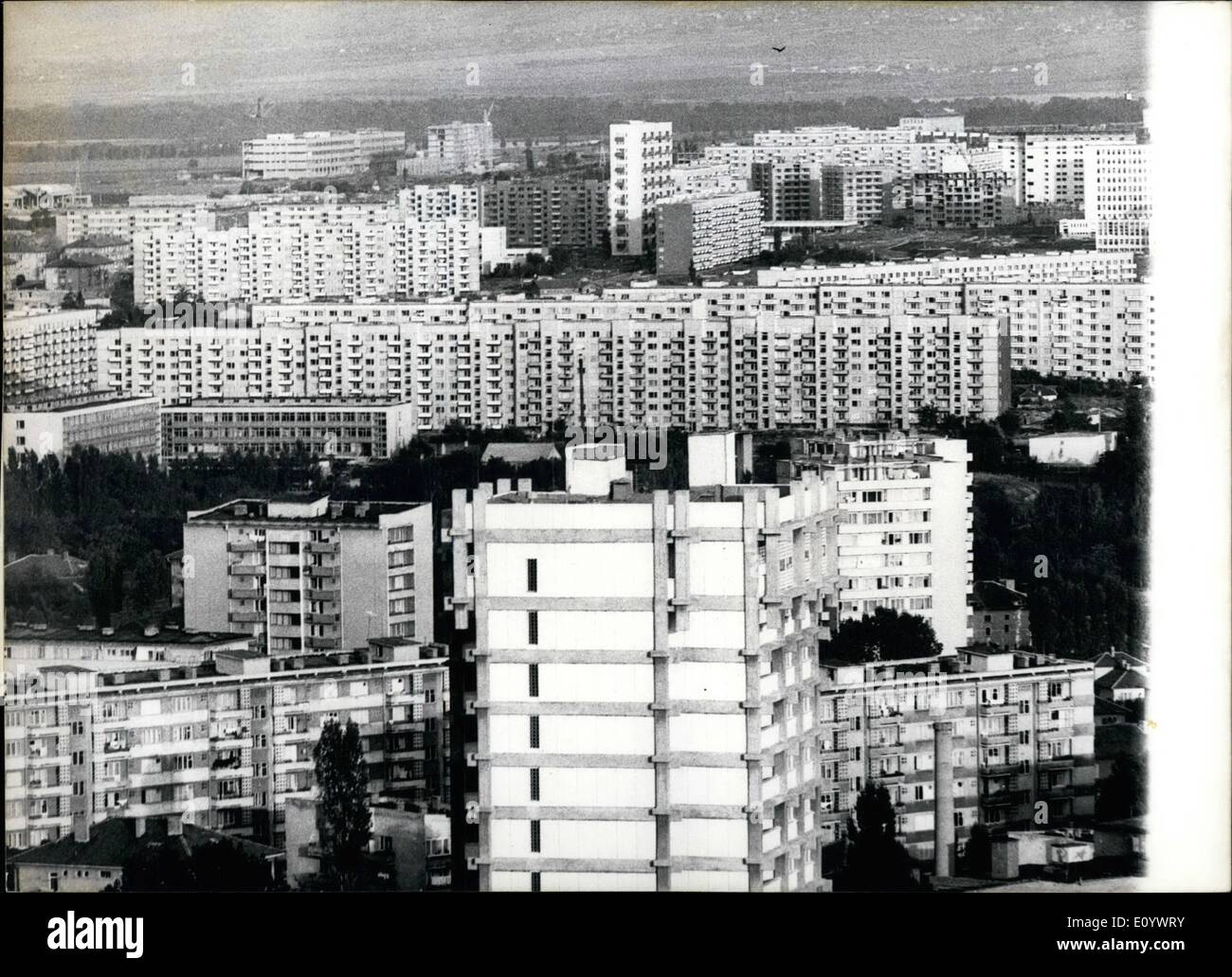 Aug. 08, 1971 - Increase of Housing construction in Sofia: While before World War II the Bulgarian capital Sofia had 350,000 inhabitants, now they are over a million. This fact imposed accelerated housing construction in all quarters of Sofia. In the Eastern part of the city a whole belt of modern housing estates has been built - ''Iskar'', ''Mladost'', ''Iztok'', ''Durvenitza'' and others. In the period 1971-75 65,000 flats with 162,000 rooms will be built in Sofia while in the period 1965-70 40,070 flats with 89,848 rooms were built - Stock Image