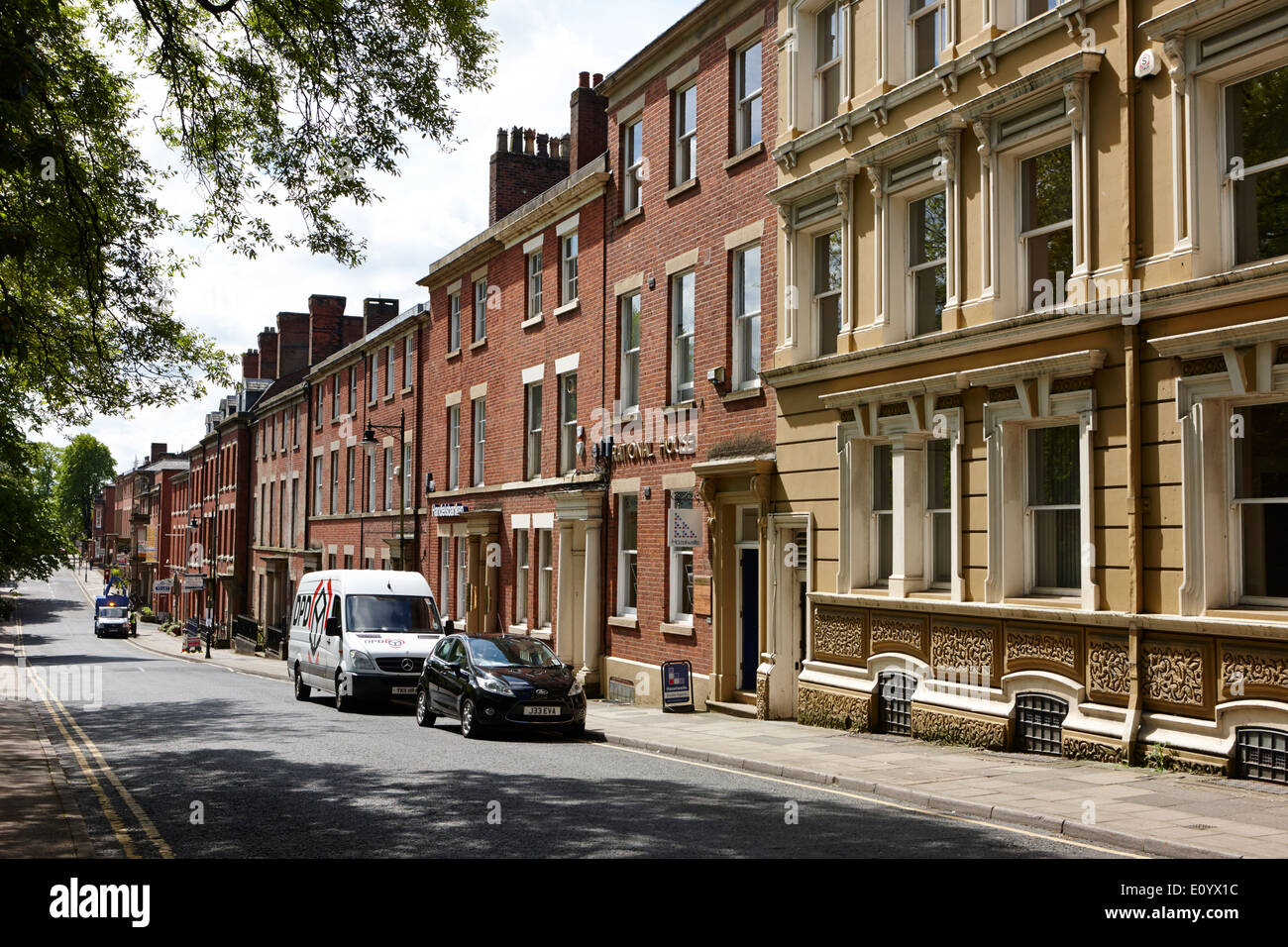 western side of Winckley square georgian town planning Preston Lancashire UK - Stock Image
