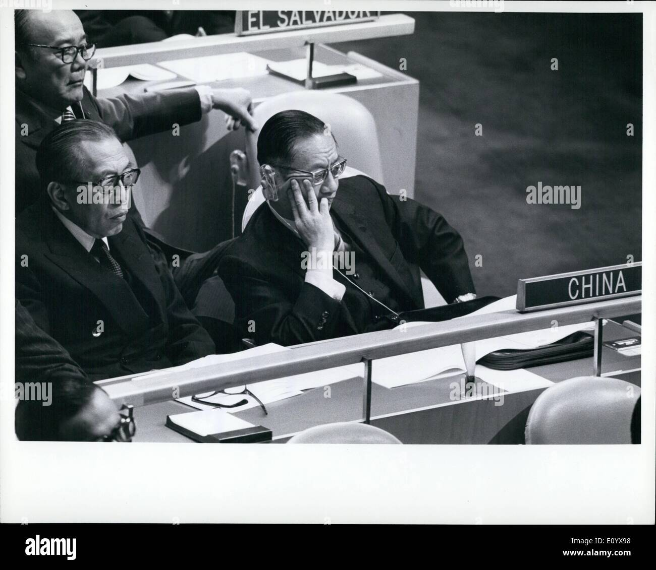 Sep. 09, 1971 - General Assembly Decides To Include Two Items In Agenda Relating To China: The General Assembly decided this morning to include two items relating to China in the agenda of the twenty-sixth session as it began consideration of the General Committee's report on the organization and the agenda of the session. Seen here is the delegation of China headed by Chow Shu-Kai (right), Minister for Foreign Affairs. Seated next to him is LIU Chieh, Permanent Representative to the United Nations. - Stock Image