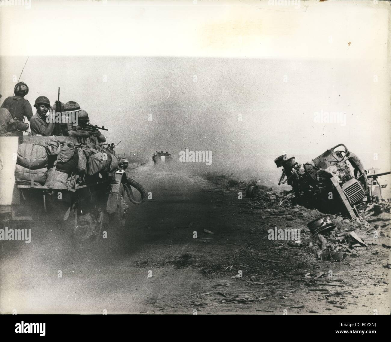 Oct. 10, 1971 - The War in the middle East: Israeli amour pictured on the road to Damascus, Syria, during the Middle East War. ( - Stock Image