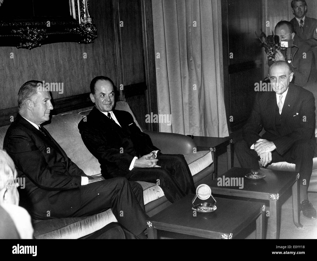 Oct 16, 1971; Athens, Greece; American Vice President Mr. Agnew arrived in Athens on a state visit. At the airport he was met by Greek Prime Minister Mr. George Papadopoulos and members of the Greek Cabinet. The picture shows Mr. SPIRO THEODORE AGNEW and Mr. GEORGE PAPADOPOULOS after their first meeting in the Office. - Stock Image