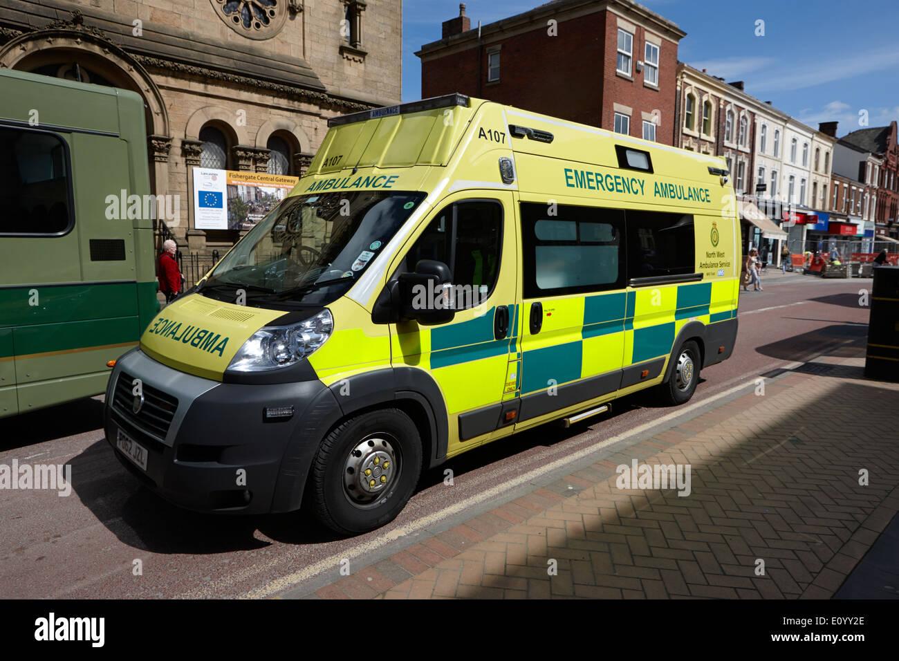 north west ambulance service emergency ambulance on fishergate Preston Lancashire UK - Stock Image
