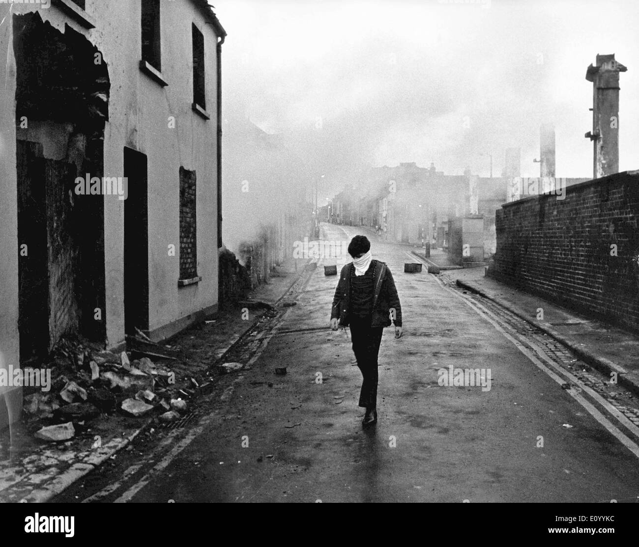 Aftermath of riots in Belfast - Stock Image