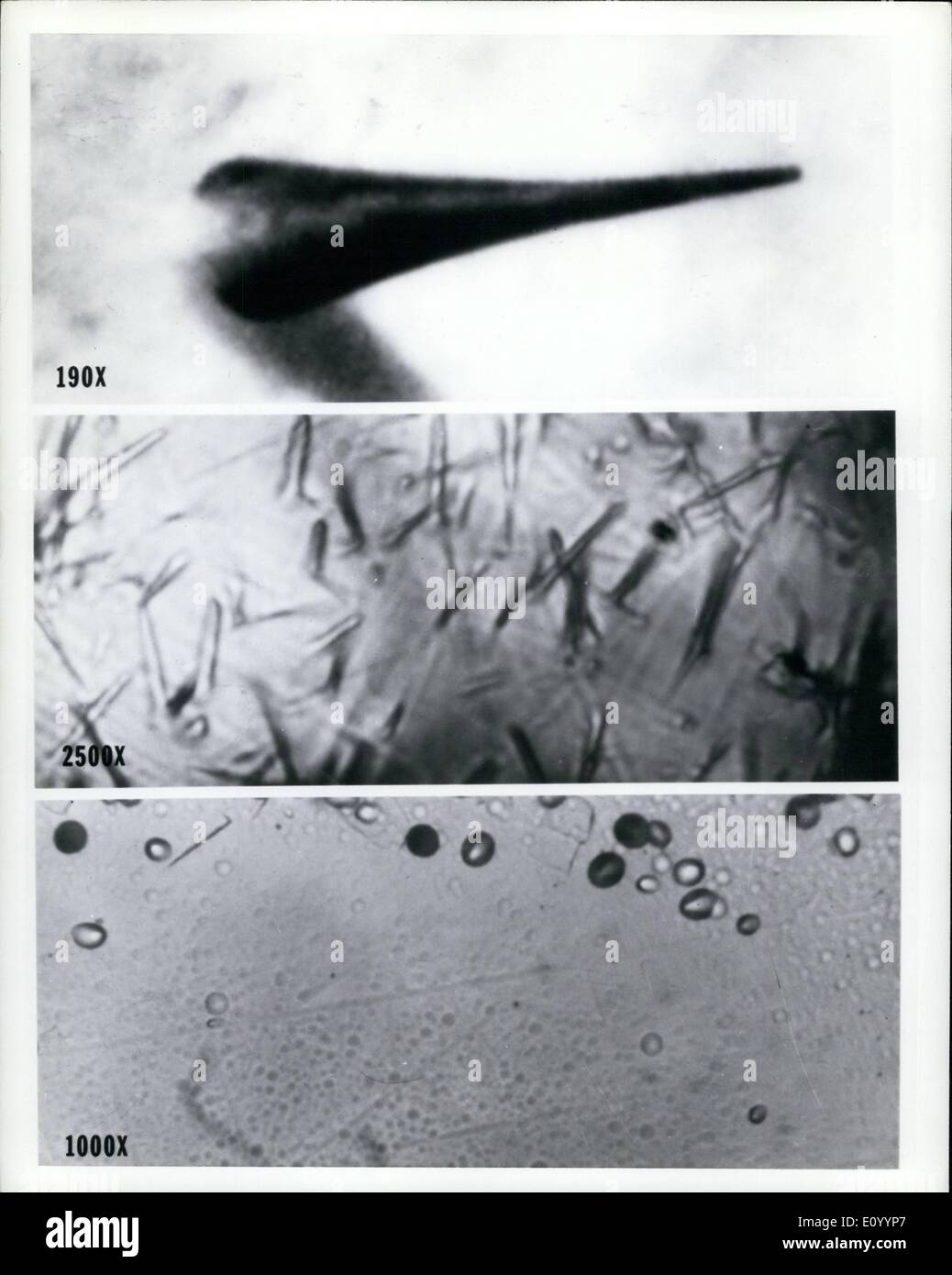 Dec. 12, 1971 - Telltale Tracks. Cosmic rays - Cosmic rays - mysterious particles that bombard the solar system from all directions in space - left these tracks in a piece of plastic (top), a mineral sample (middle), and a fragment of glass (bottom). A special array of these detector materials will be carried to the moon and back next March by the Apollo 16 astronauts. The tracks recorded by the detector array are expected to provide new information about the age, composition, and origin of cosmic rays, the most powerful of which are generated by unknown sources in space - Stock Image