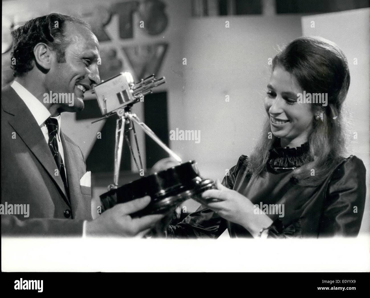 Dec. 12, 1971 - Princess Anne Receives BBC Sports Award: Princess Ann receives the British Broadcasting Corporation's ''Sports Personality of the Year'' Award, fro forker heavyweight boxer Henry Cooper, before millions of television viewers, at the BBC Theatre in London last night. - Stock Image