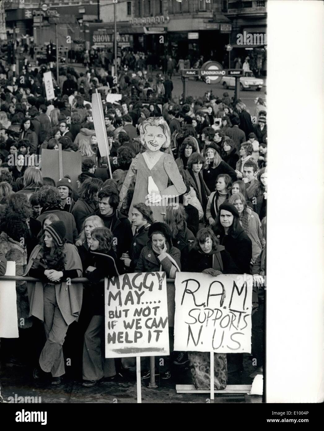 Jan. 01, 1972 - 20,000 students demonstrate over government proposals for financing student unions; About 20,00 students took part in a mass march and demonstration from Speakers Corner to Trafalgar Square in protest against Government proposals for financing student Unions. Photo Shows One of the many banners being seen during the demonstration was one showing Mrs. Margaret Thatcher who is the Minister of Educating drinking a bottle of milk. - Stock Image