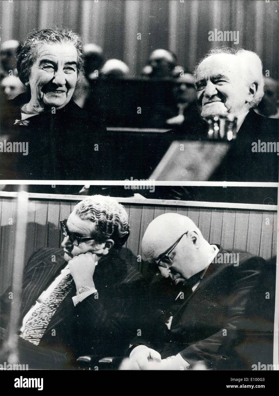 Jan. 27, 1972 - January 27th, 1972 Zionist Congress contrast. Photo Shows: At the opening of the Zionist Congress in Jerusalem recently, the Israel Prime Minister, Mrs. Golda Meir, and D. Ben-Gurion appear to be enjoying the proceedings (top picture) but Finance Minister Mr. P. Saphir and the Treasurer of the Jewish Agency, Mr. L. Dultschin appeared to find it difficult to stay awake (bottom picture) - Stock Image
