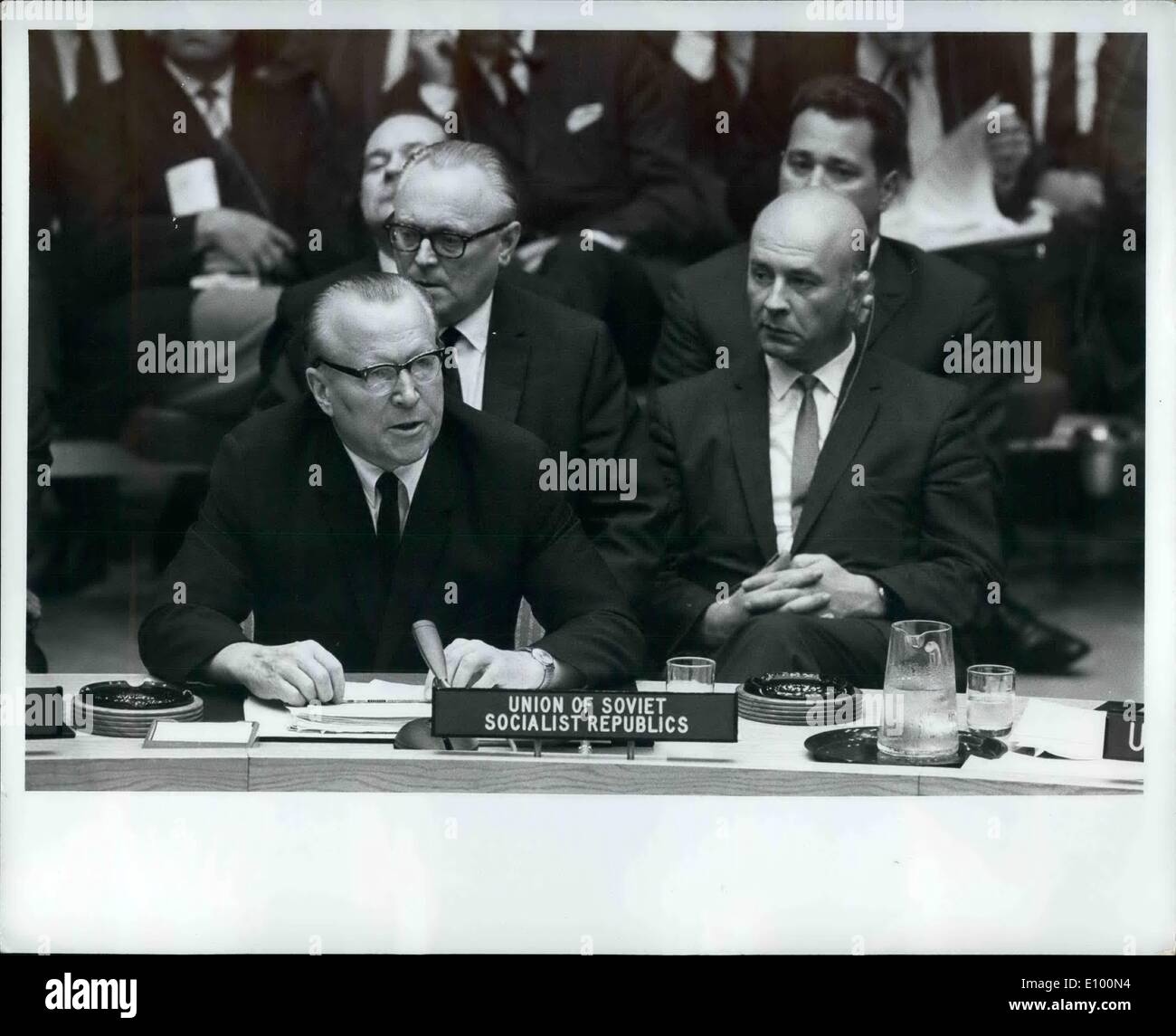 Feb. 02, 1972 - Security Council begins debate on situation in Czechoslovakia: The Security Council tonight began debate, at the request of six Council members, concerning ''the present serious situation in the Czechoslovakia Socialist Republic''. the decision to take up this item - as requested today by Canada, Denmark, France, Paraguay the United Kingdom and the United Stated - was taken by a vote of 13 in favour to 2 against (Hungary, soviet Union) - Stock Image