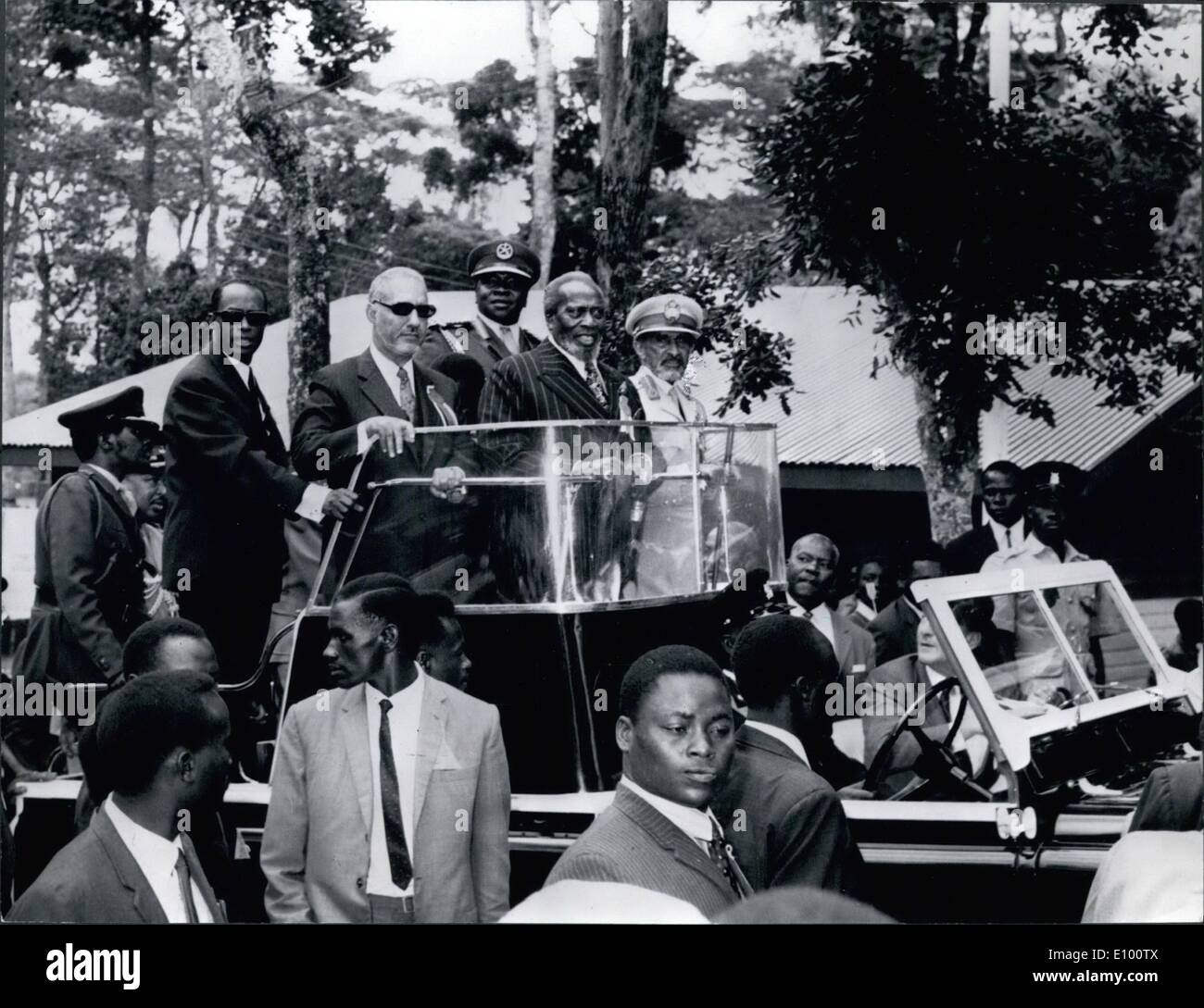 Feb. 02, 1972 - Nairobi, Kenya: Enclosed please find four pictures taken in Naironi Kenya yesterday when the 1st All Africa Trade Fair was Officially opened. The opening ceremony was attended by many thousand people including the Emperor of Ethiopia, Haile Selassie, President Idi Amin of Uganda, President Moktar Ould Daddah of Mauritanis and President Kenyatta of Kenya. Photo shows 1. The Four Heads of States in a ceremonial landrover tour the fair grounds in the landrover are from left Mr - Stock Image