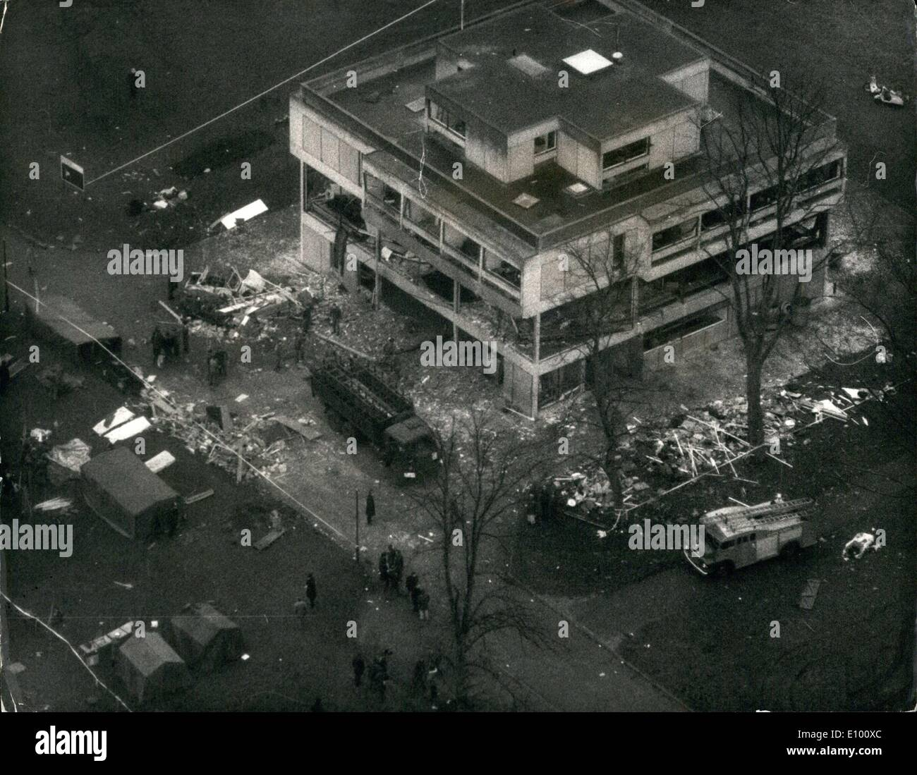 Feb. 02, 1972 - Seven killed when Ira Bomb Wrecks Officers Mess at Aldershot.: An IRA bomb wrecked the officers's mess of the 16th. Parachute Regiment at Aldershot yesterday killing five women domestic workers, a civilian man and a Roman Catholic padre. Sixteen others, including several Army and RAF officers were injured. The official IRA in Dubblin immediately claimed responsibility for the bombing and said it was in retaliation for Londonderry's 'Bloody Sunday' battle involving the Parachute Regiment when 13 civilians were shot dead on Jan, 30 - Stock Image
