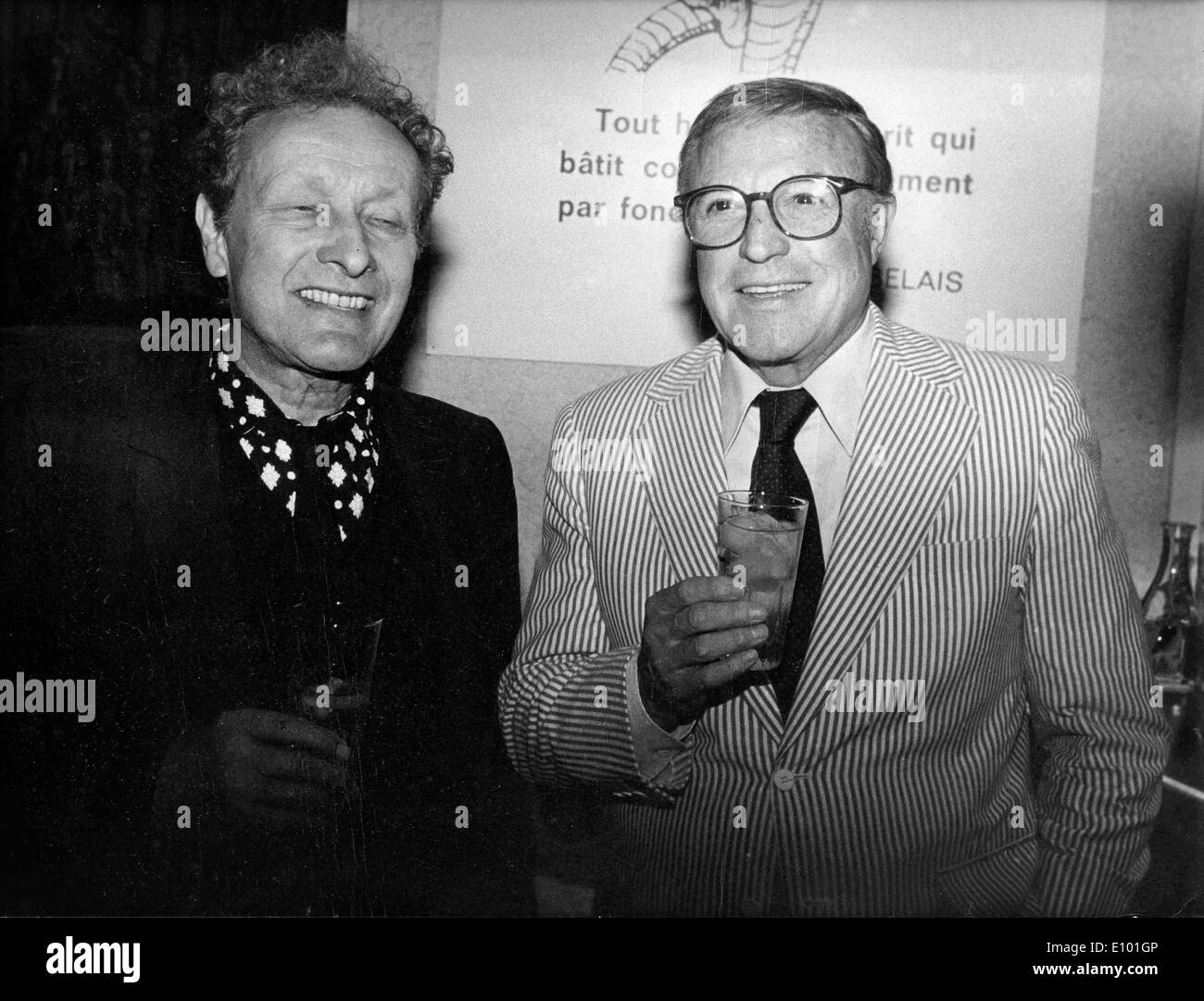 Gene Kelly and Jean-Louis Barrault at press reception - Stock Image