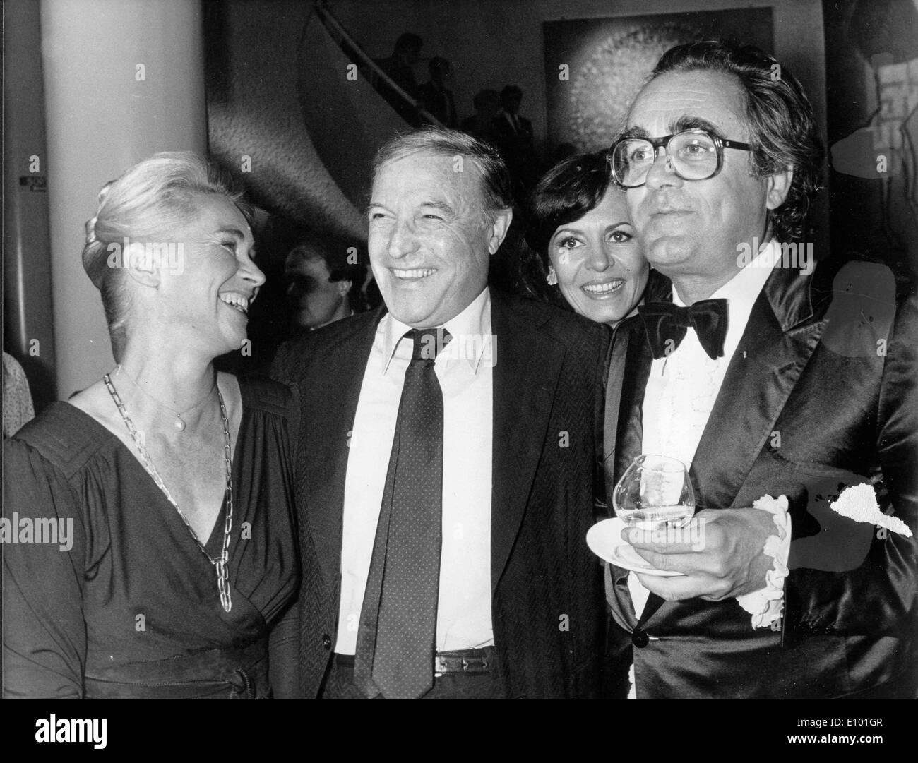 Gene Kelly laughs with Claude Bessy and Michel Legrand - Stock Image