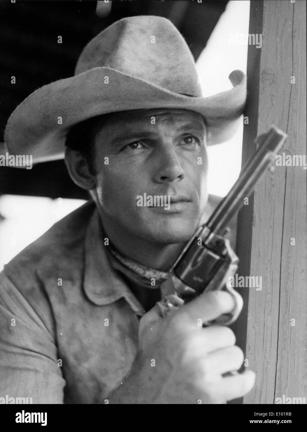 Actor Adam West in a western film scene - Stock Image