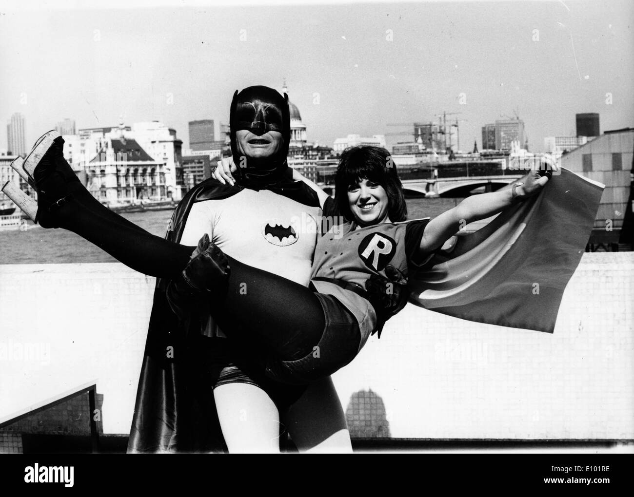 Actor Adam West as Batman with Sally James - Stock Image
