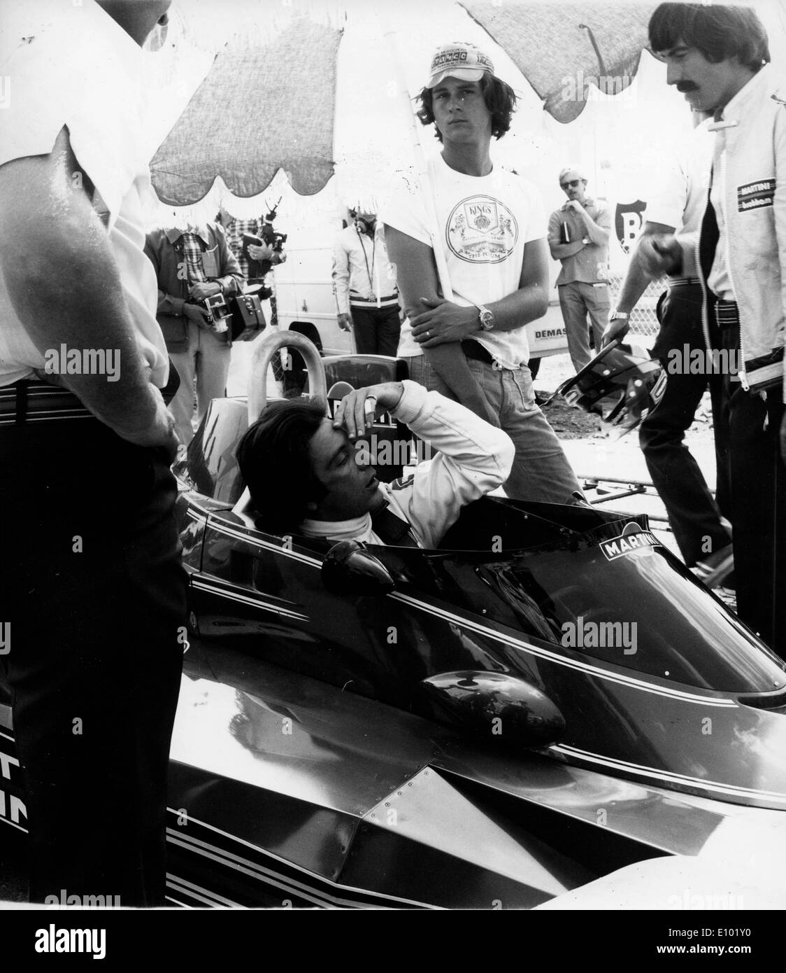 Actor AL PACINO filming Bobby Deerfield on the Bugatti Circuit in Le Mans, France August 5, 1976 - Stock Image