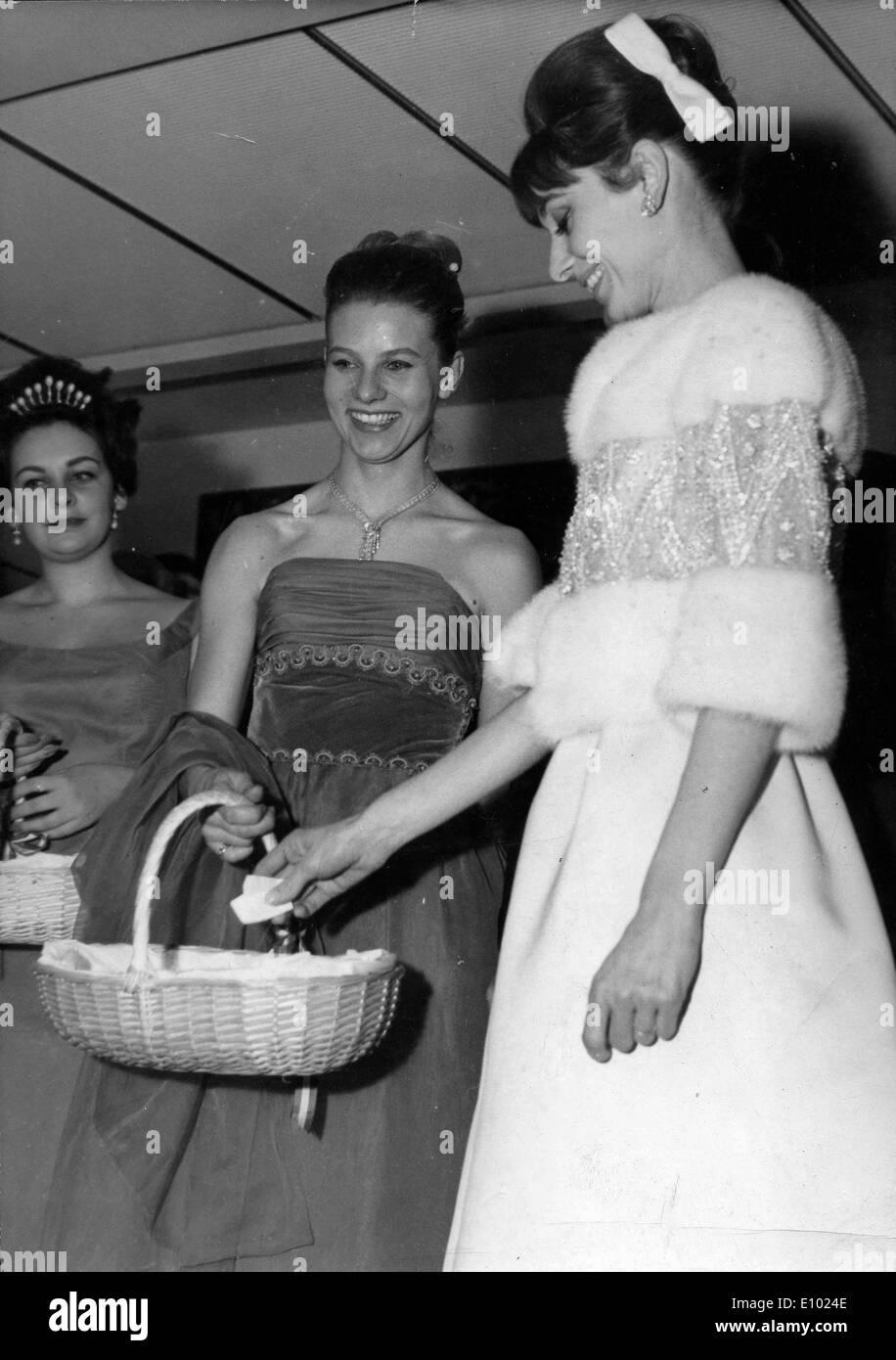 Actress Audrey Hepburn aboard S.S. France - Stock Image