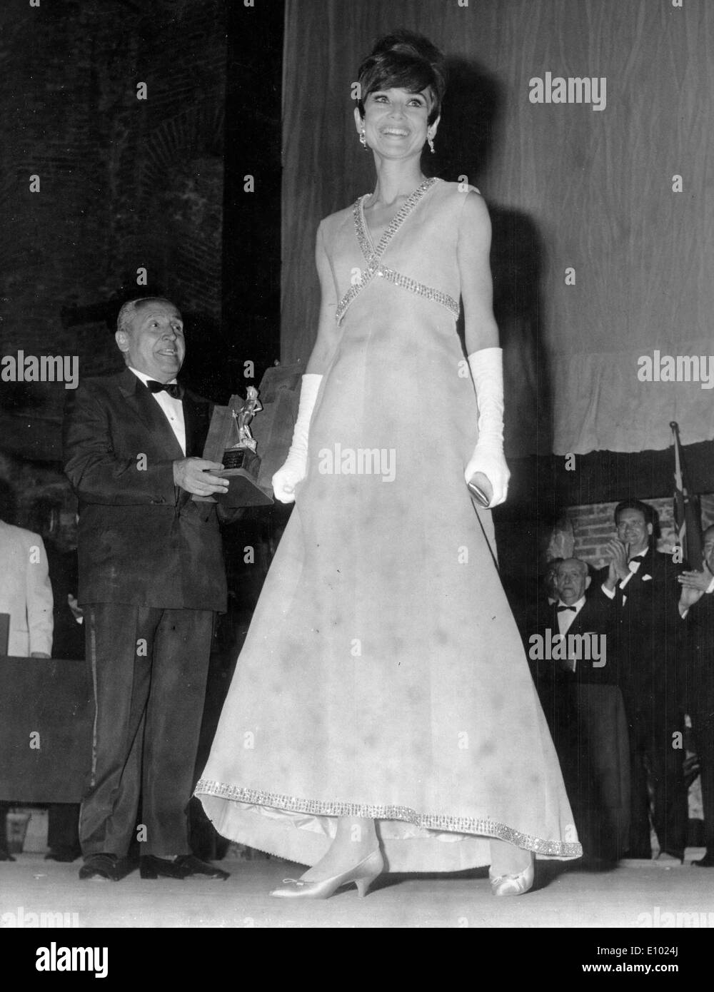 Actress Audrey Hepburn awarded for 'My Fair Lady' - Stock Image