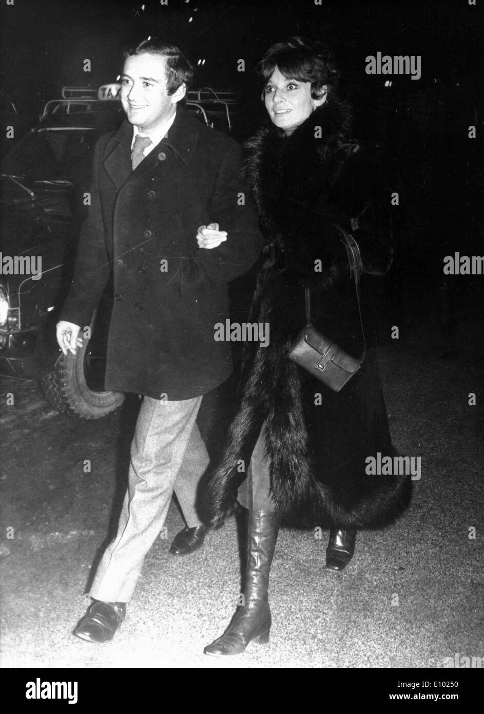 Actress Audrey Hepburn on holiday with Andrea Dotti - Stock Image