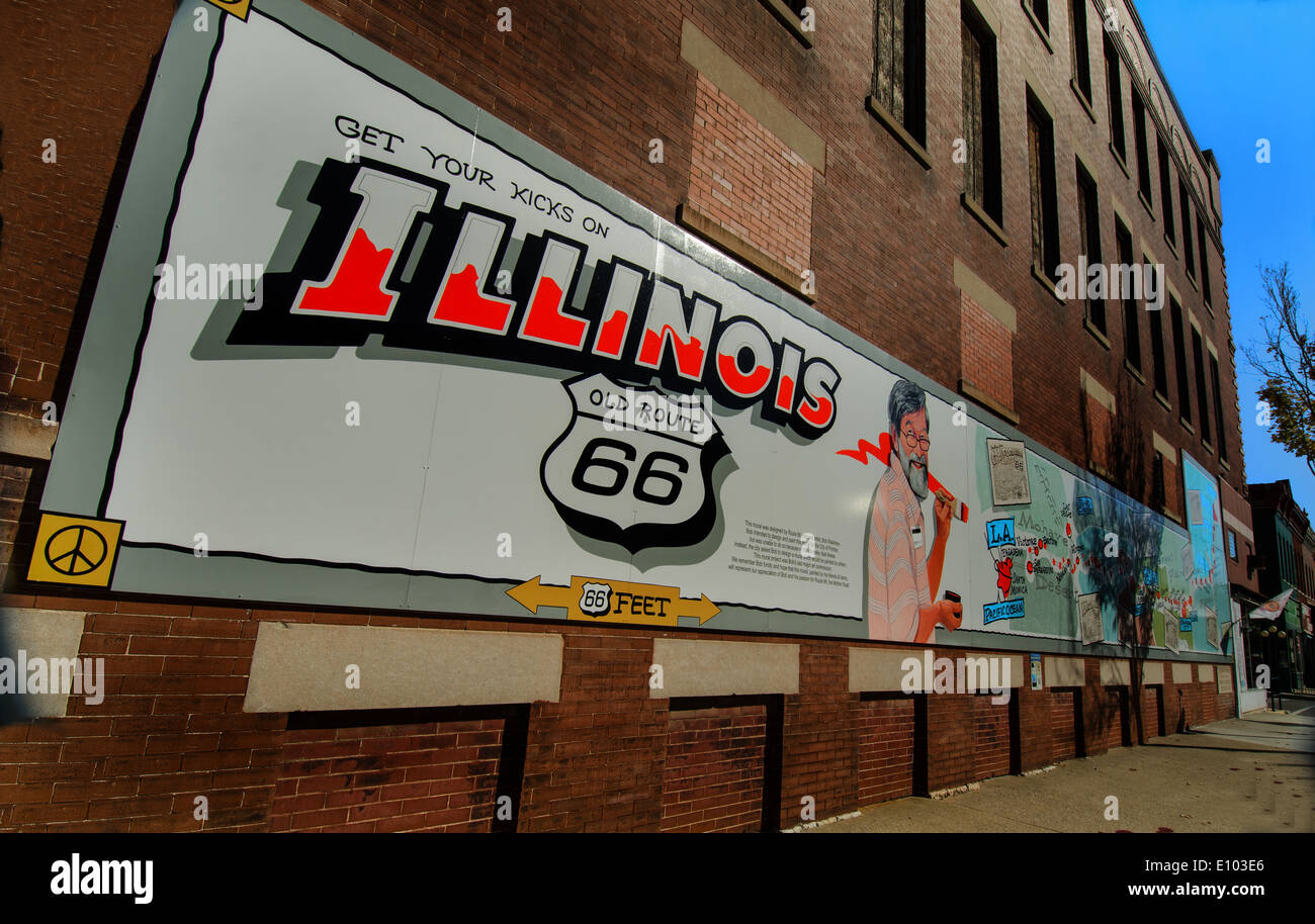The Bob Waldmire Memorial mural in Pontiac, Illinois , a town along Route 66 - Stock Image