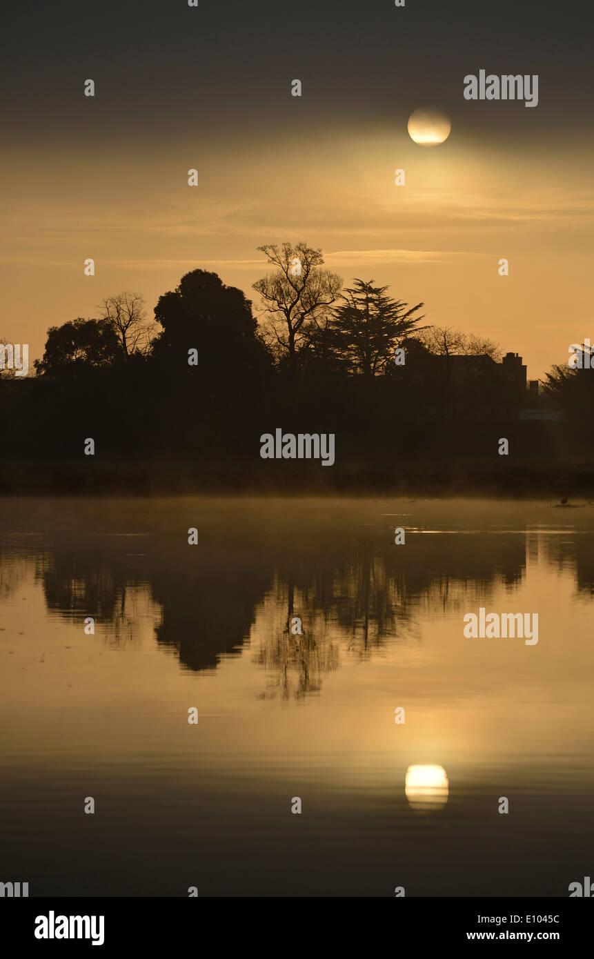 Leg of Mutton Pond at sunrise, Bushy Park, London, UK - Stock Image