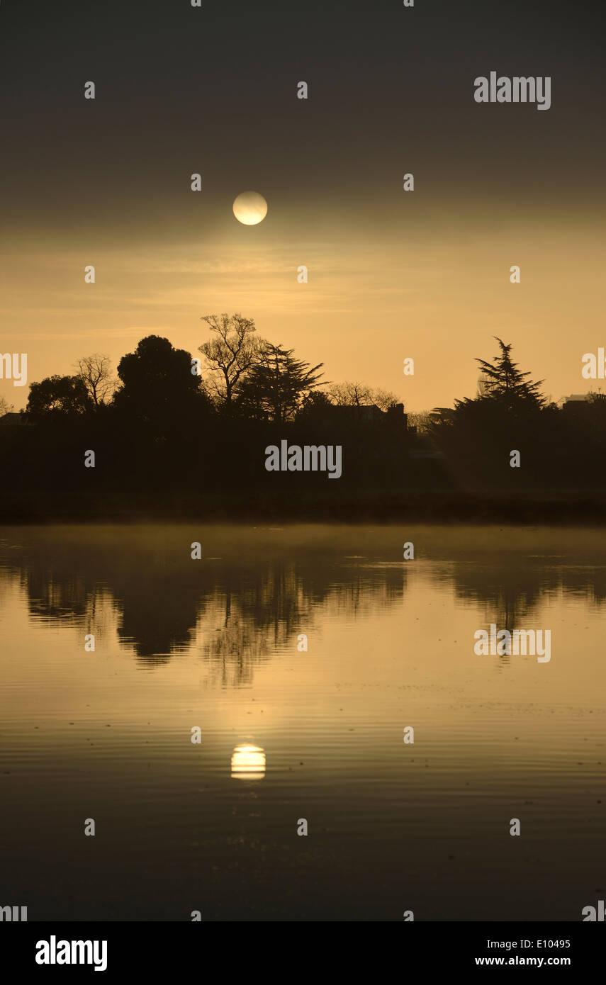 Leg of Mutton Pond at sunrise, Bushy Park, London, UK Stock Photo