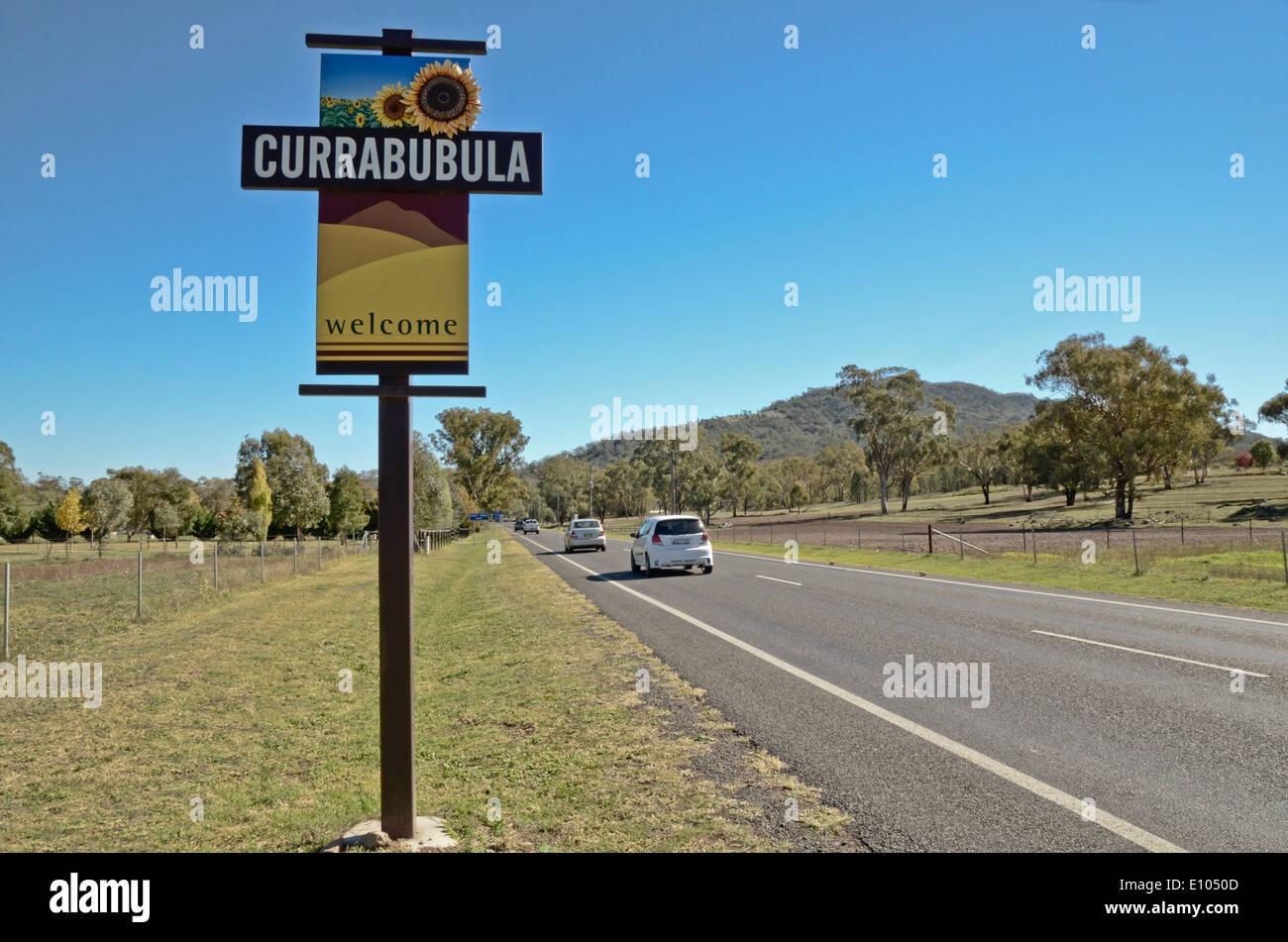 Welcome to Currabubula NSW Australia roadside sign - Stock Image