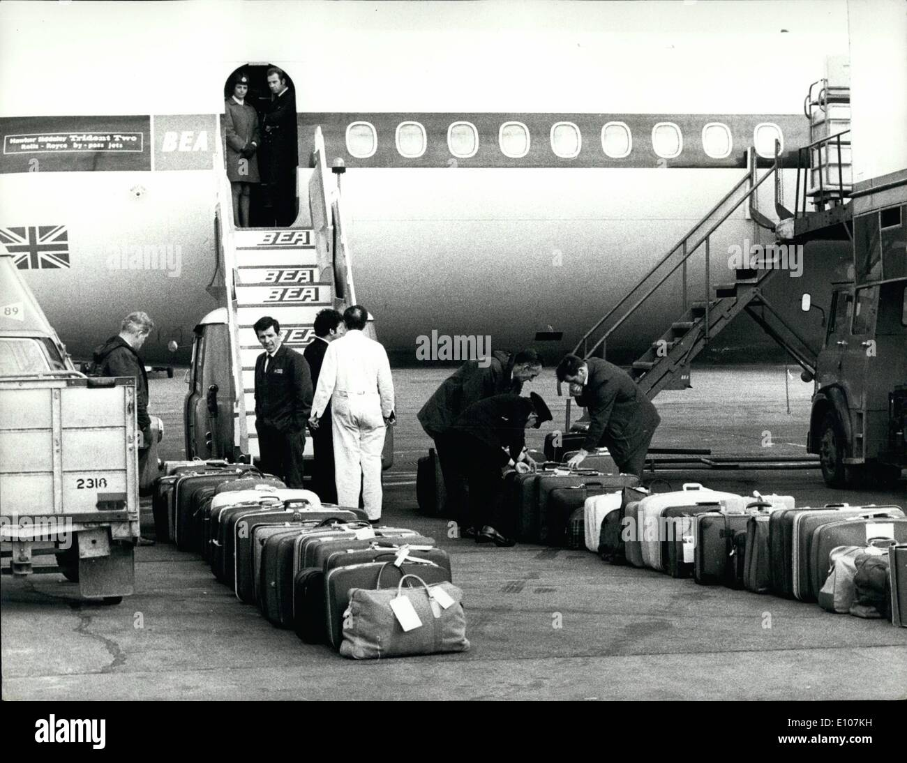 Feb. 02, 1970 - LUGGAGE IDENTIFIED BY PASSENGERS BEFORE GOING ABOARD AIRLINER. Baggage awaiting identification by passengers at - Stock Image