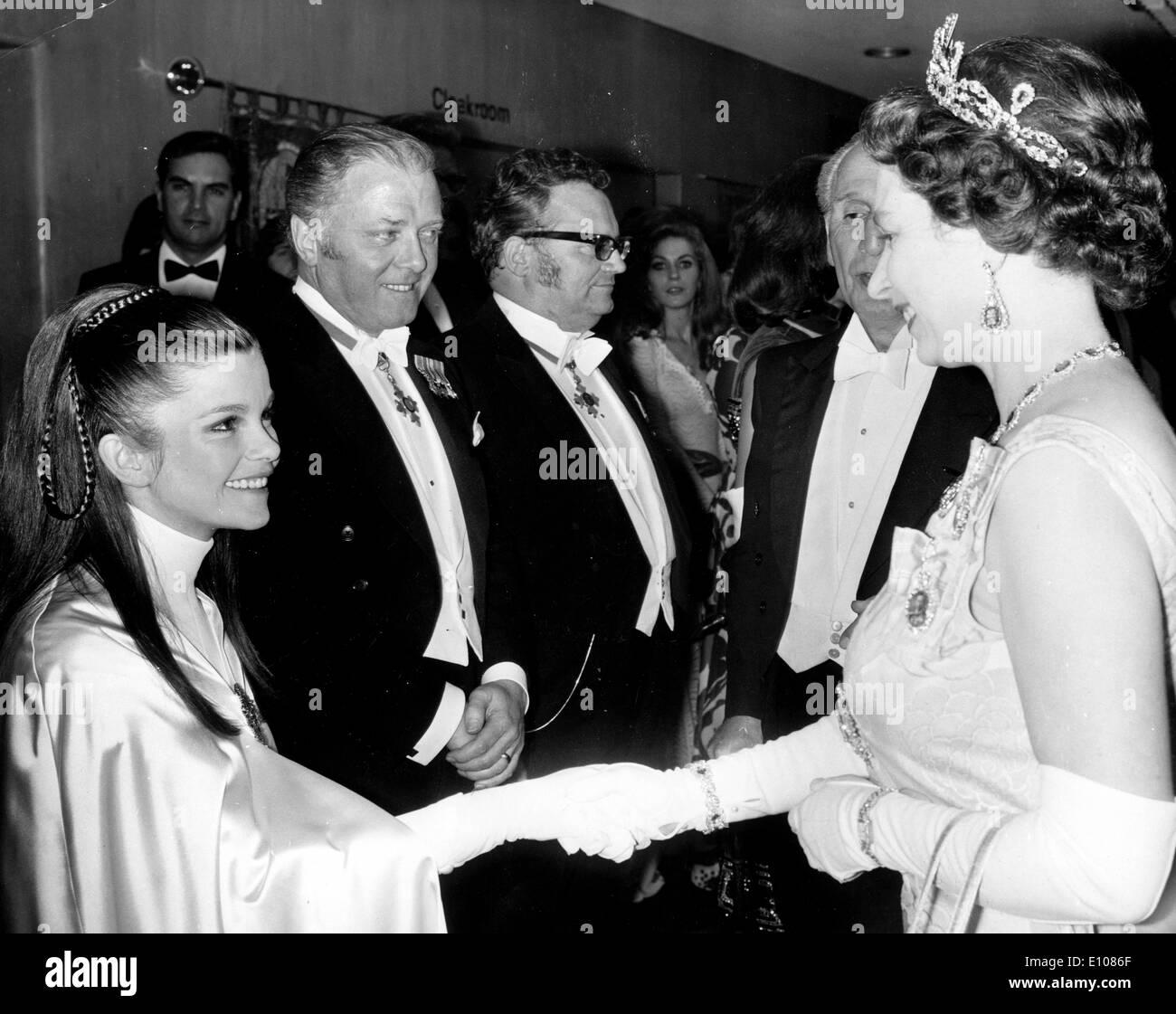 Queen Elizabeth II meets Genevieve Bujold Stock Photo