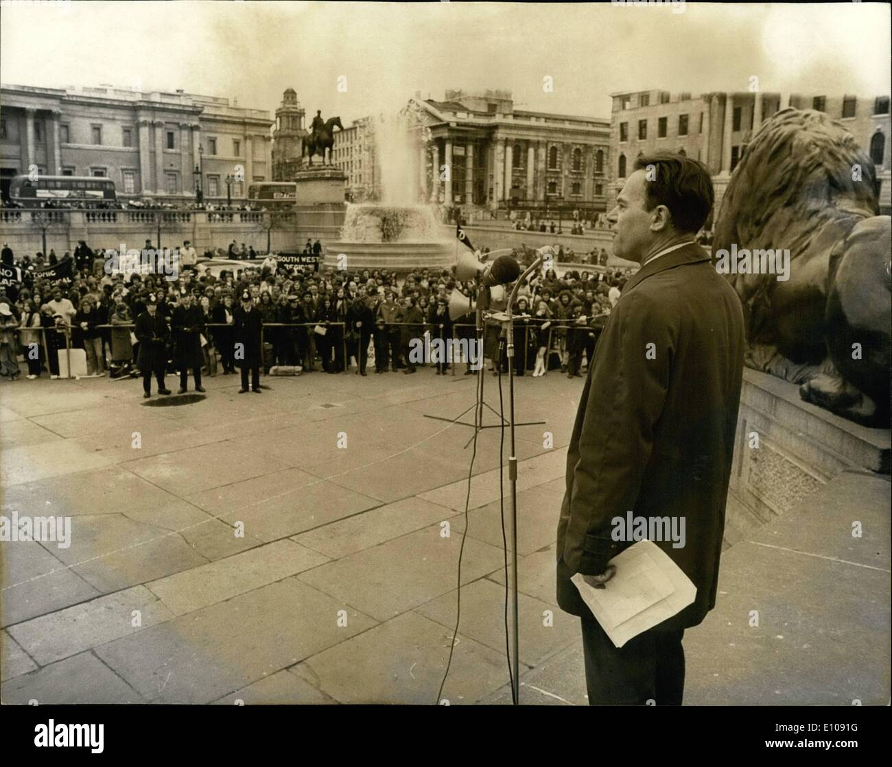 Mar. 03, 1970 - The Campaign For Nuclear Disarmament Annual March Ends In Trafalgar Square: The Campaign for Nuclear Disarmament's annual Easter march which this year began at Crawley New Town finished with a rally in Trafalgar Square at the end of the 30-mile march. Photo shows: Victor Miles, President of the Crawley Trades Council, addressing the rally in Trafalgar Square today. - Stock Image