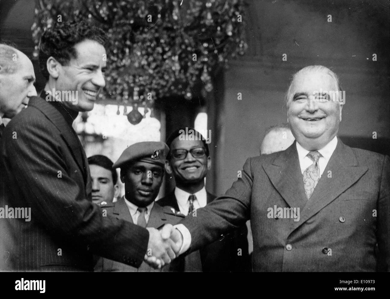 President Georges Pompidou meets Muammar al-Gaddafi - Stock Image