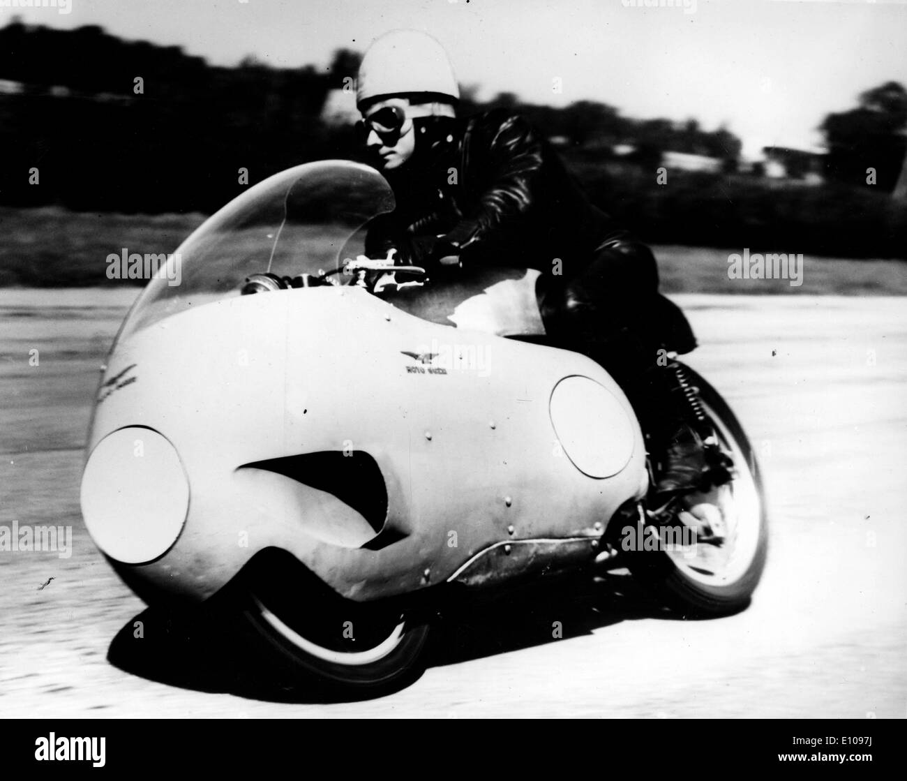 KEITH CAMPBELL pictured on a Moto Guzzi motorcycle. - Stock Image