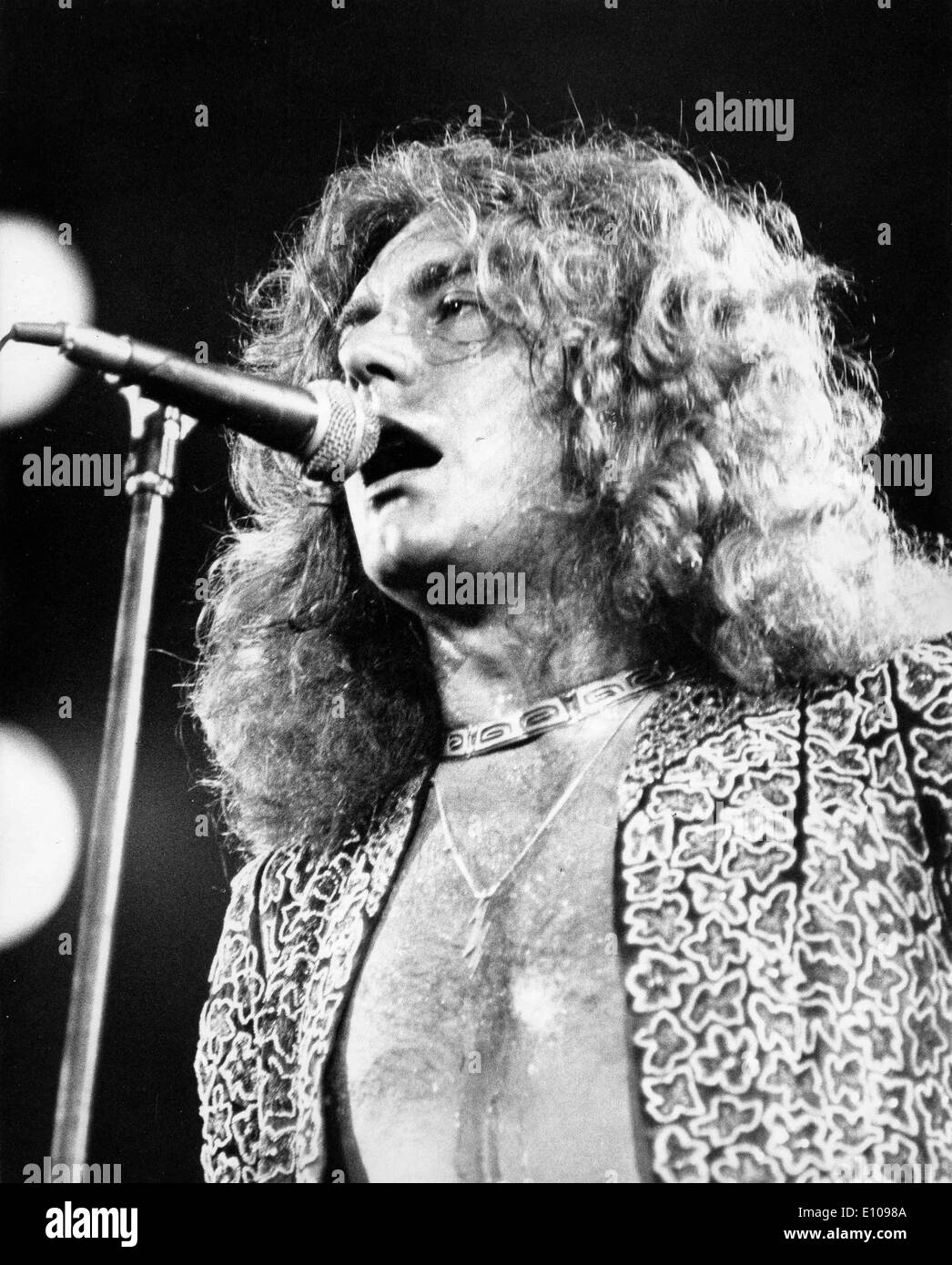 Led zeppelin singer robert plant in concert stock image