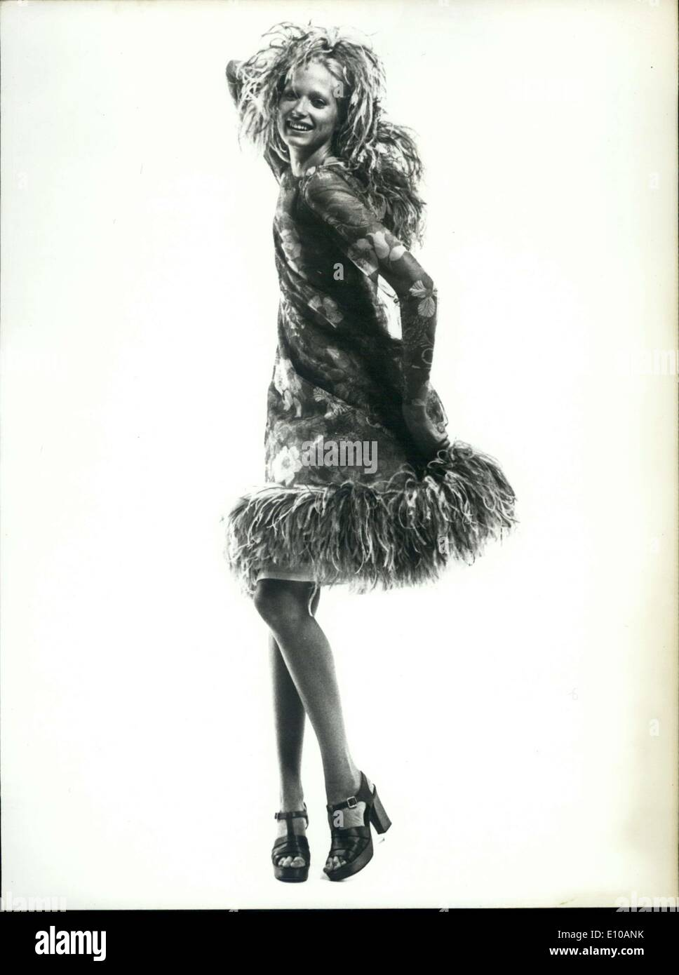 Feb. 22, 1972 - Woman Modeling Dress By Jacques Griffe Aerienne - Stock Image