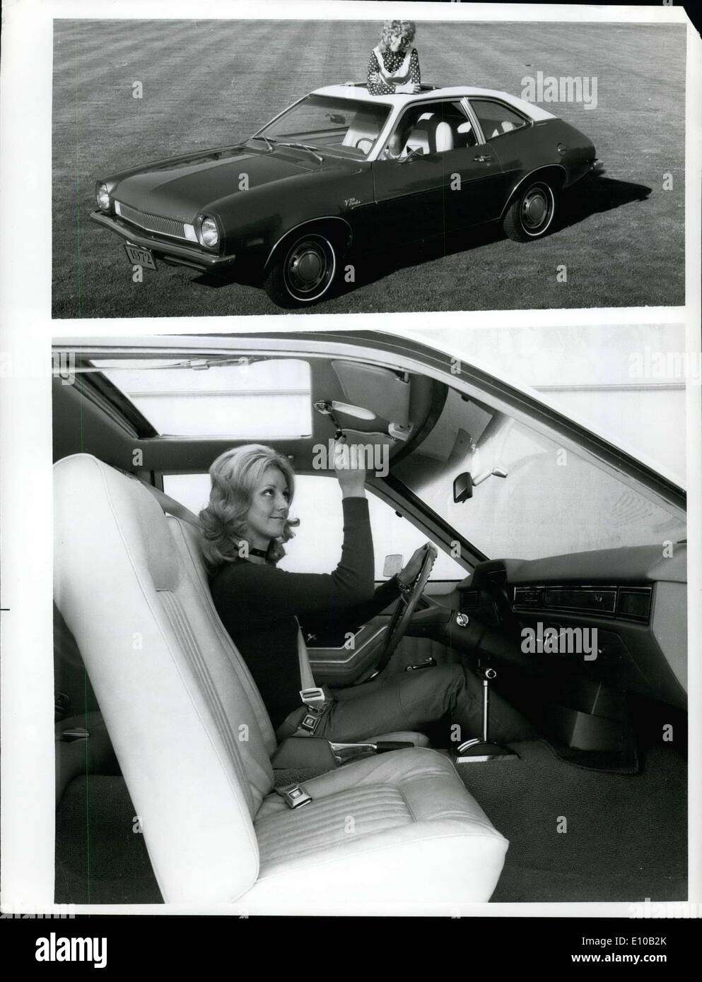 Feb. 24, 1972 - Pinto Sunroof ? A sliding metal sunroof, a popular option on the Thunderbird and standard-sized Ford, now is offered on the Ford Pinto. It is available with or without optional vinyl roof, and it covers the front passenger compartment. It is manually operated by a crank which is recessed in the headliner when not in use. - Stock Image