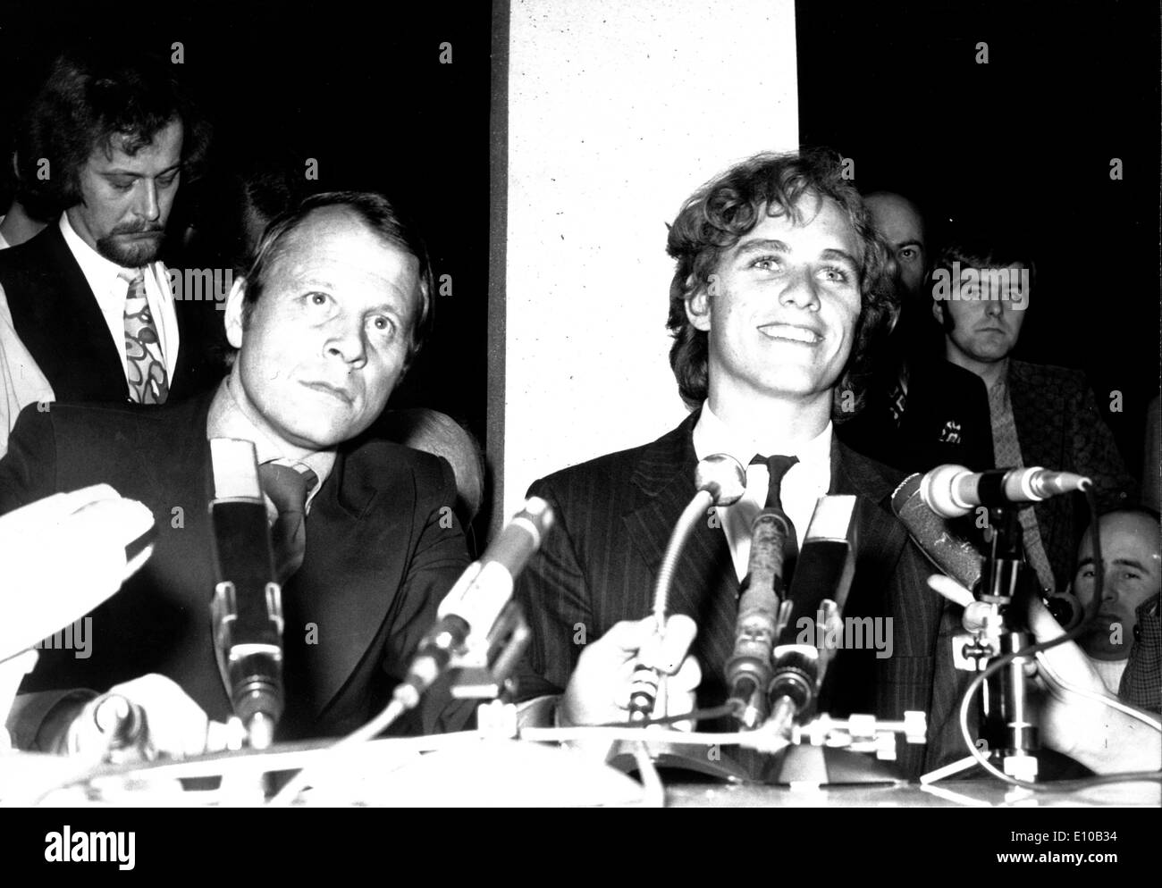 Feb 26, 1972; Frankfurt, Germany; The most prominent of the 123 male passengers of the Lufthansa Jmbo Jet, which had been hijacked to Aden by Palestinian Airpirates, was JOSEPH KENNEDY, son of the assassinated US Senator Robert Kennedy, who arrived at Frankfurt Airport with a special plane. Joseph just gave an improved press conference of some miniutes to answer the journalist's questions. - Stock Image