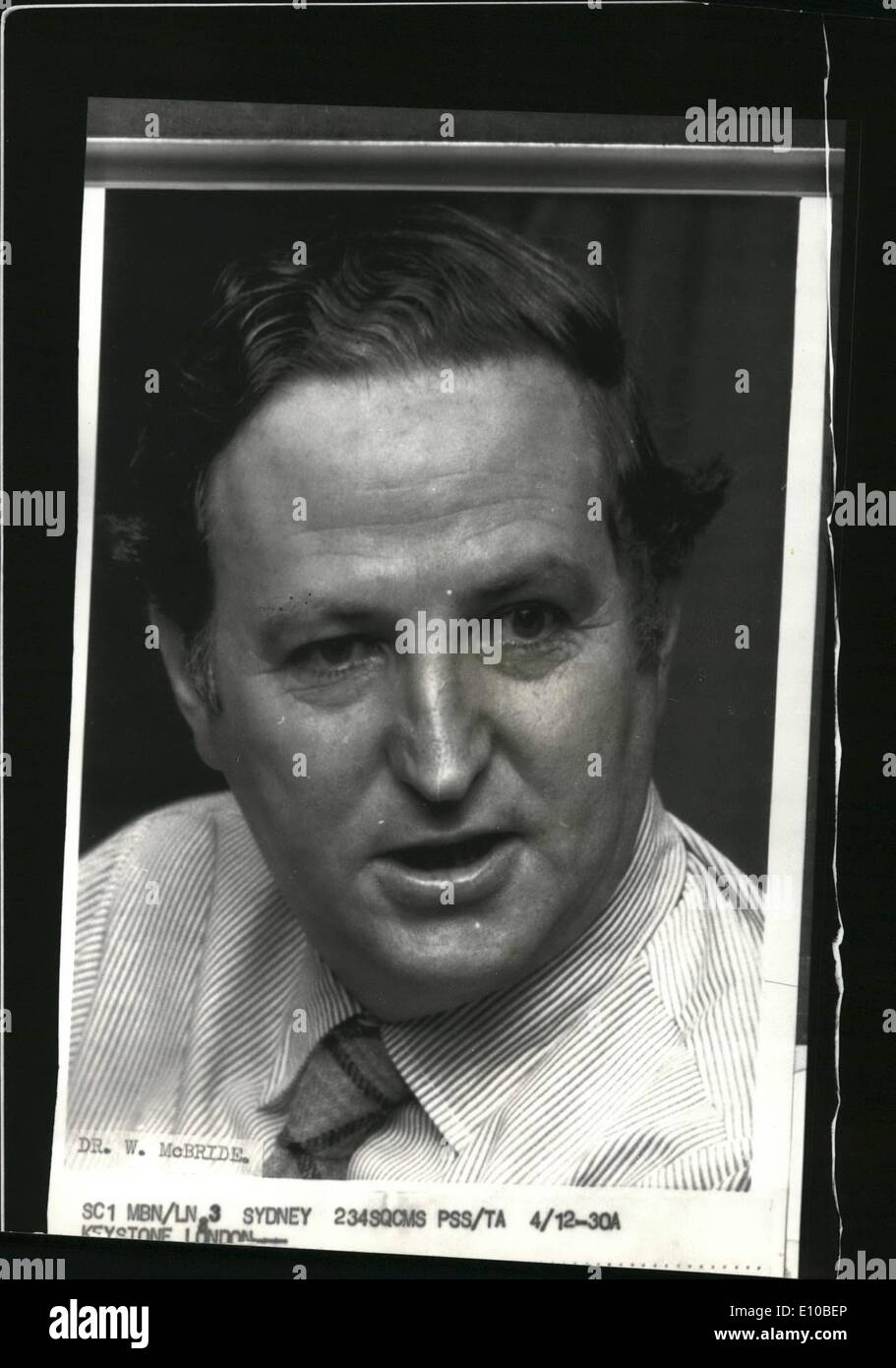 Mar. 03, 1972 - Thalidomide Doctor warns of new Drug Fear: Dr. William McBride, the Australian gynecologist who discovered the deforming effects of Thalidomide on unborn babies, today warned that he has found another deformative drug widely prescribed to British Women. Writin in the Australian Medical Journal, Dr. McBride named the drug as Imipramine and said: ''I am of the opinion that it is the cause of limb deformities in babies is taken in early pregnancy''. Photo Shows Dr. William McBride, the Australian gynecologist. - Stock Image
