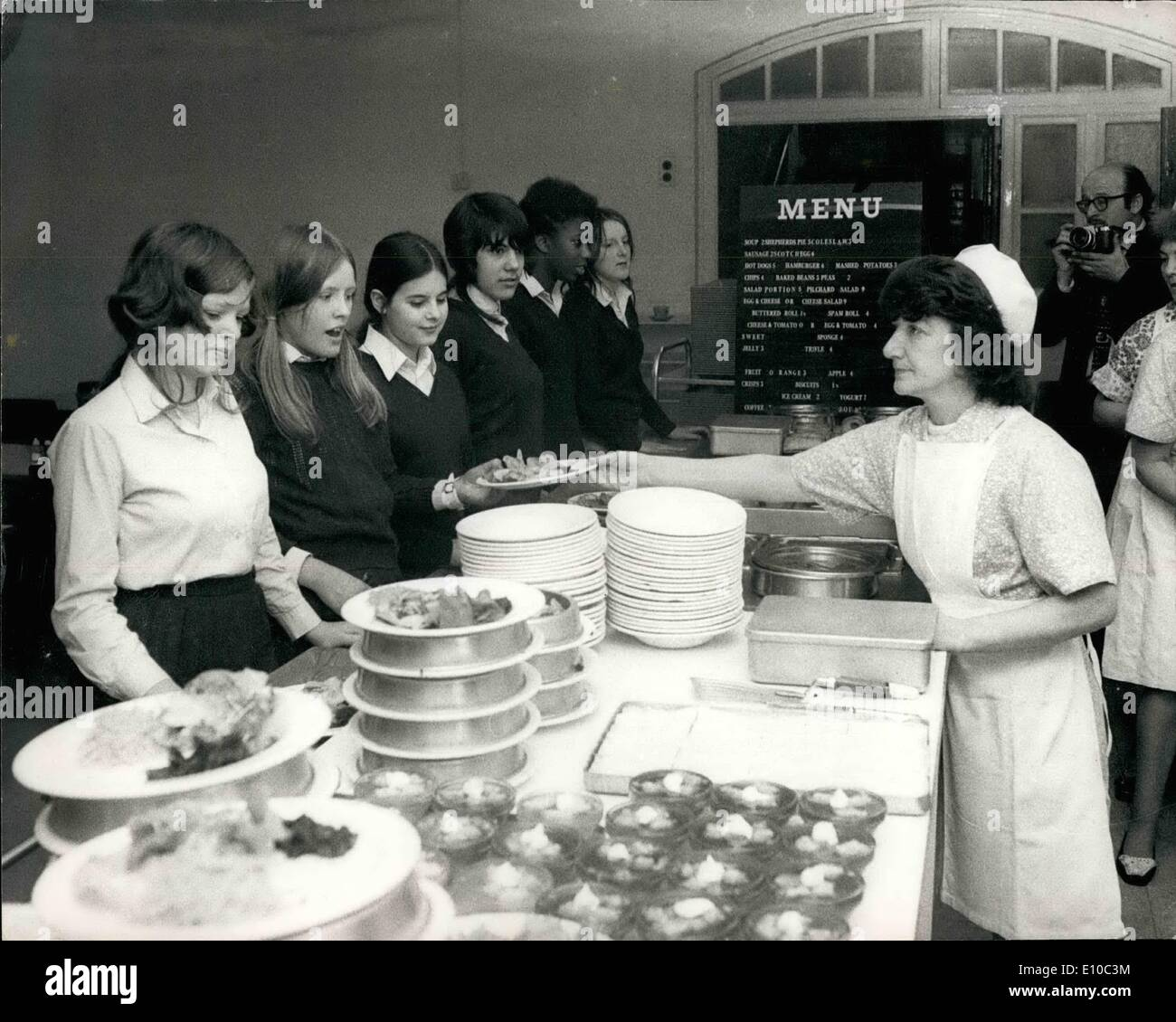 Mar. 22, 1972 - March 22nd 1972 New look for school meals at Barnsbury School for girls in Islington - An experimental cafeteria service at seven inner London secondary schools designed to offer a wide selection of separately priced dishes and snacks in addition to the traditional school meal, has been approved by the Schools Sub-Committee A special arrangement agreed with the Department of Education and Science will permit prices in the cafeteria to reflect the subsidy normally payable for school dinners -working out at roughly twice the raw food cost Barnsbury School for Girls, Islington, - Stock Image