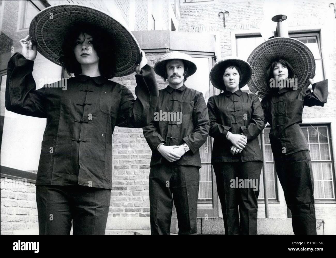 Apr. 04, 1972 - Blue Ants-Dresses For Only 58 DM: After the Mao-look, now the new Peking-look. From Peking the blue working-suits are coming in fashion. Models are wearing the first samples in Dusseldorf (West-Germany) - Stock Image