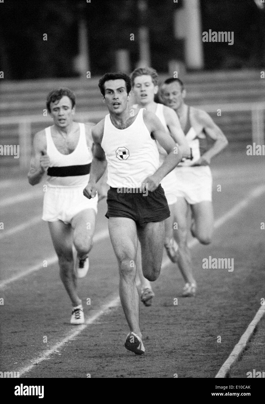 Sixties, black and white photo, sports, athletics, International Meeting in Athletics 1966 in Krefeld-Uerdingen, track racing, long distance, men, ahead a runner of KTSV Preussen Krefeld 1855, D-Krefeld, D-Krefeld-Uerdingen, Lower Rhine, North Rhine-Westp - Stock Image