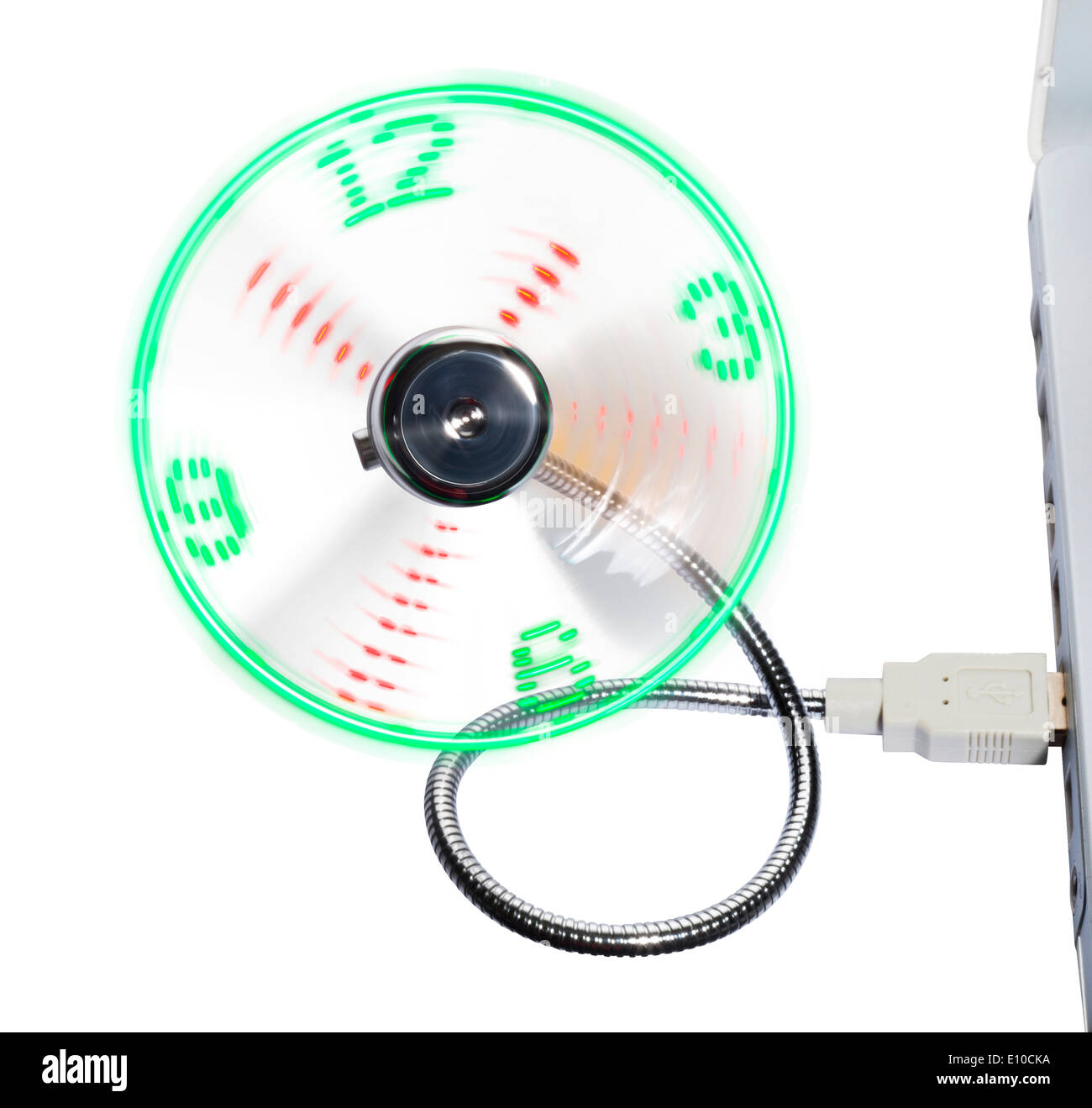 Rotating USB fan that displays the time - Stock Image
