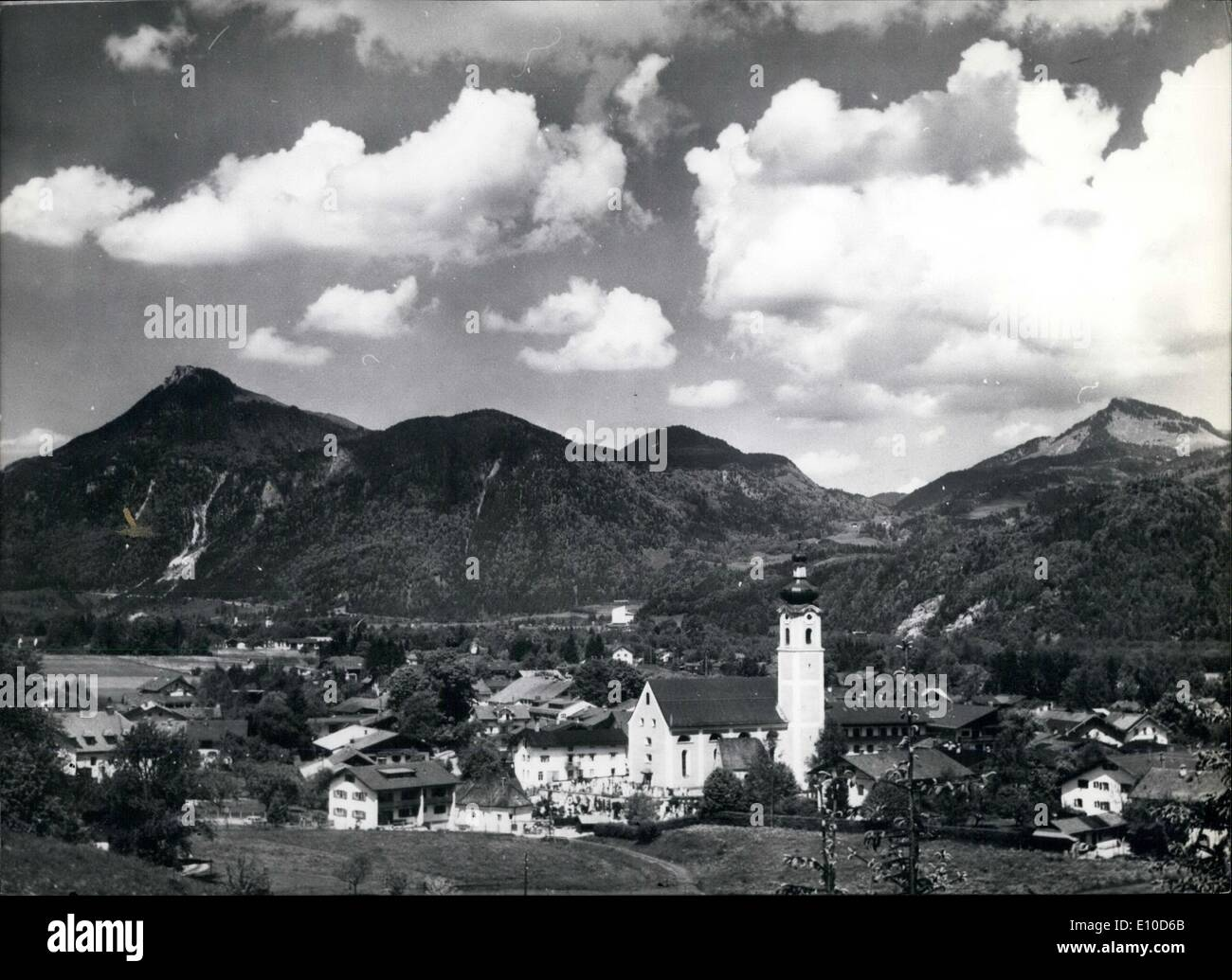 Jul. 07, 1972 - Visitors of East Germany will live in Oberaudorf During the Olympic Games.: Even in Oberaudorff/Bavaria( our picture) one has to be prepared for the Olympic Games; but in contrast to Munich this small community with 1.800 beds for tourists has only got gastronomical problems to solve. For the first time the authorities of East Germany gave their permission that 2000 people may visit West Germany on Occasion of the Olympic Games in Munich. About half of them will live in Oberaudorf during this time - Stock Image